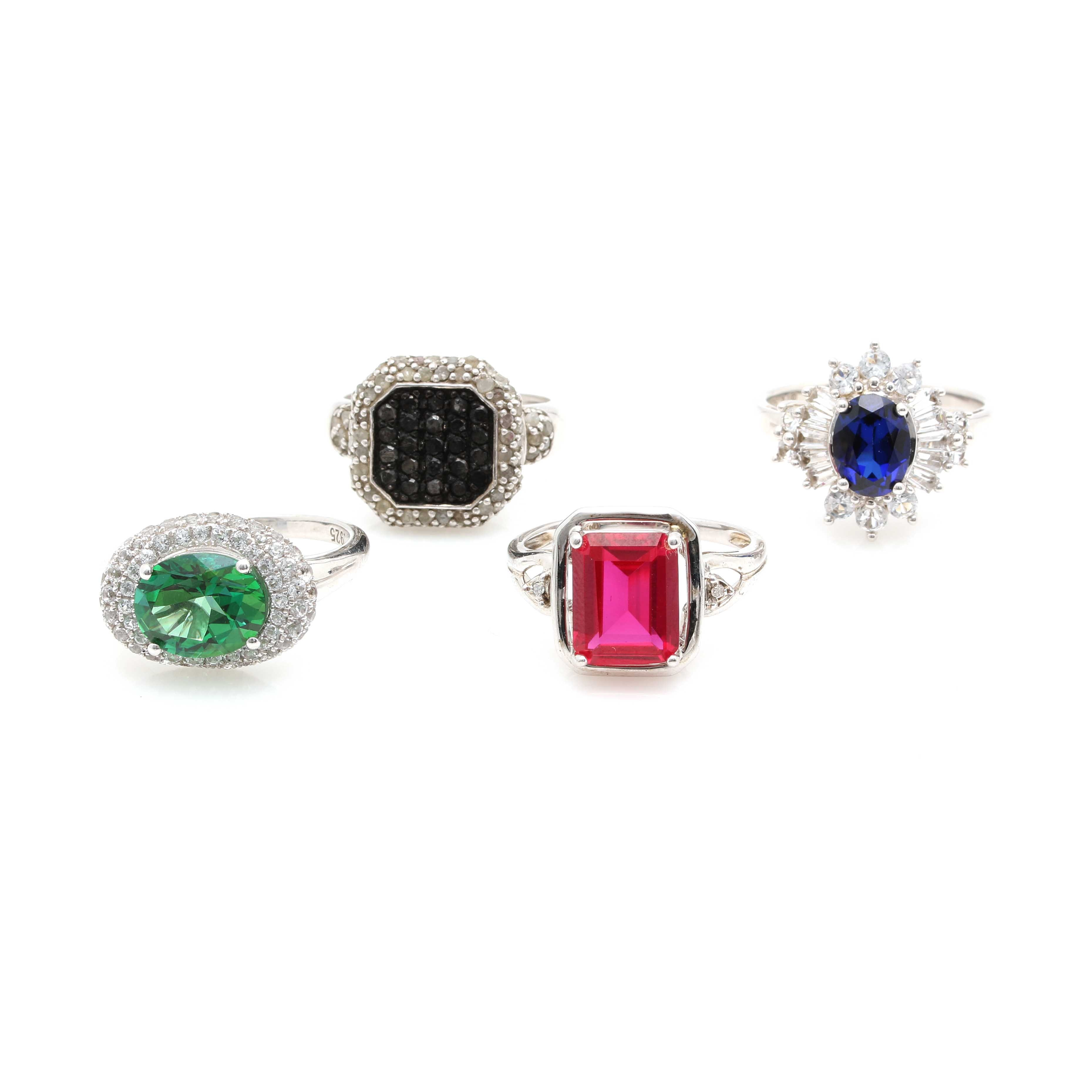 Sterling Silver Gemstone Ring Assortment Featuring Alwand Vahan