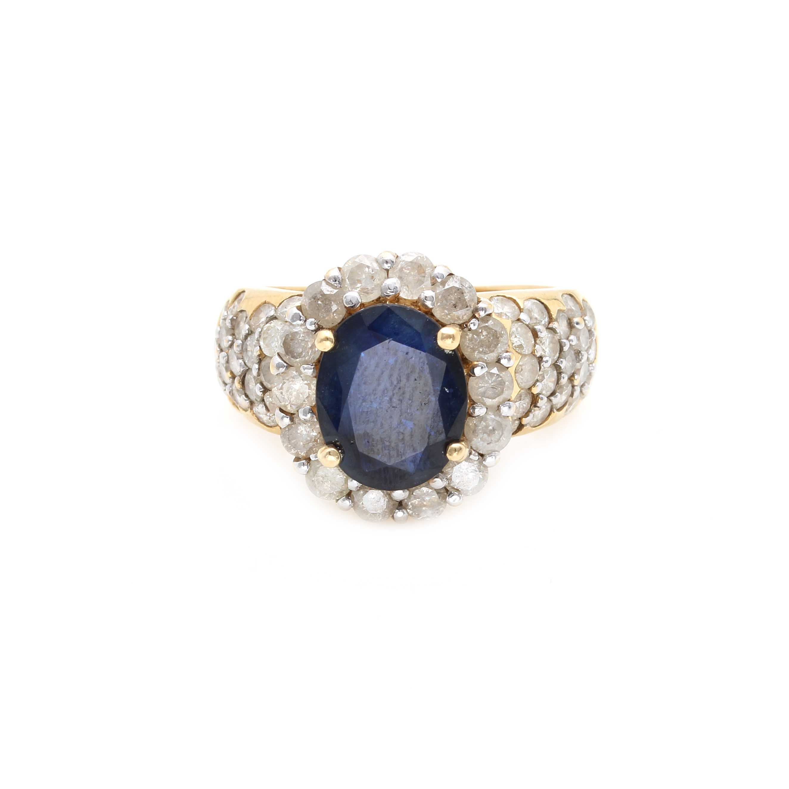 14K Yellow Gold 2.33 CT Sapphire and 1.98 CTW Diamond Ring