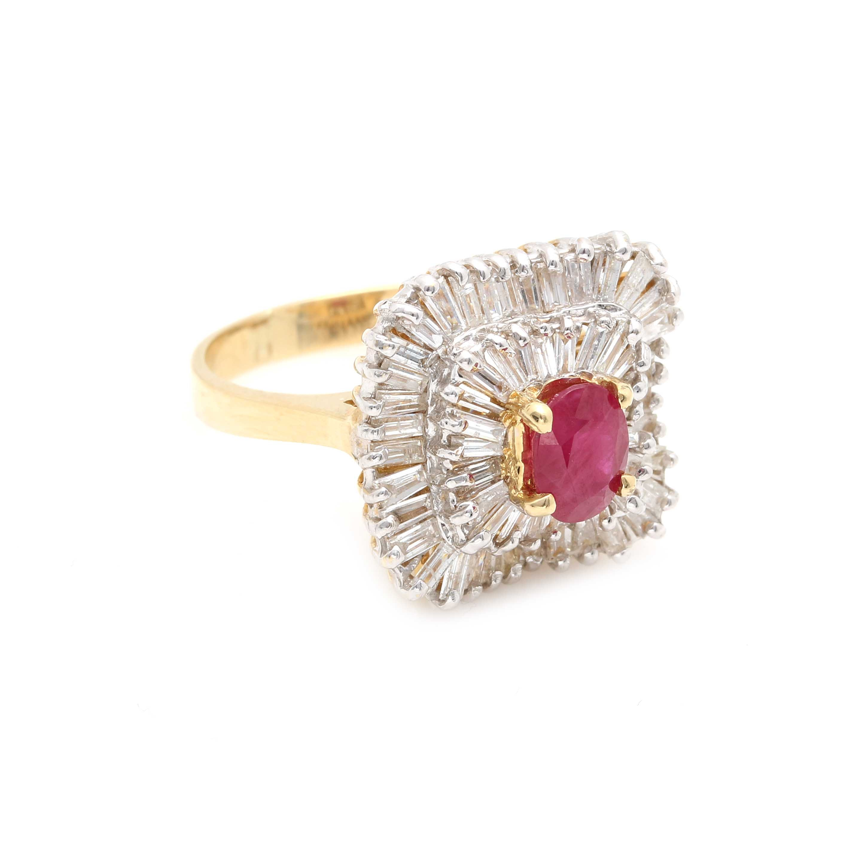 14K Yellow Gold 1.00 CT Ruby and 1.95 CTW Diamond Ring