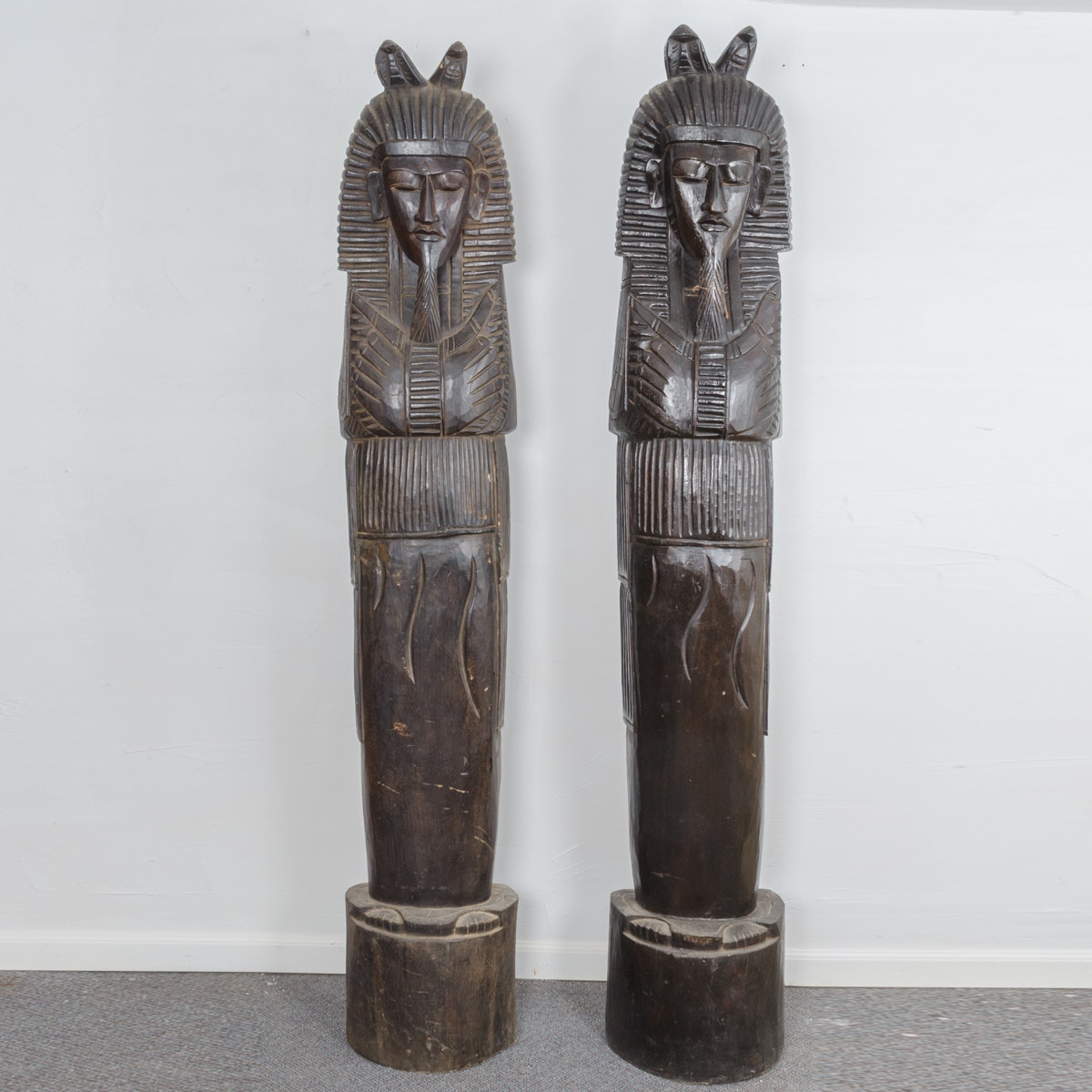 Pair of Carved Wooden Pharaoh Statues