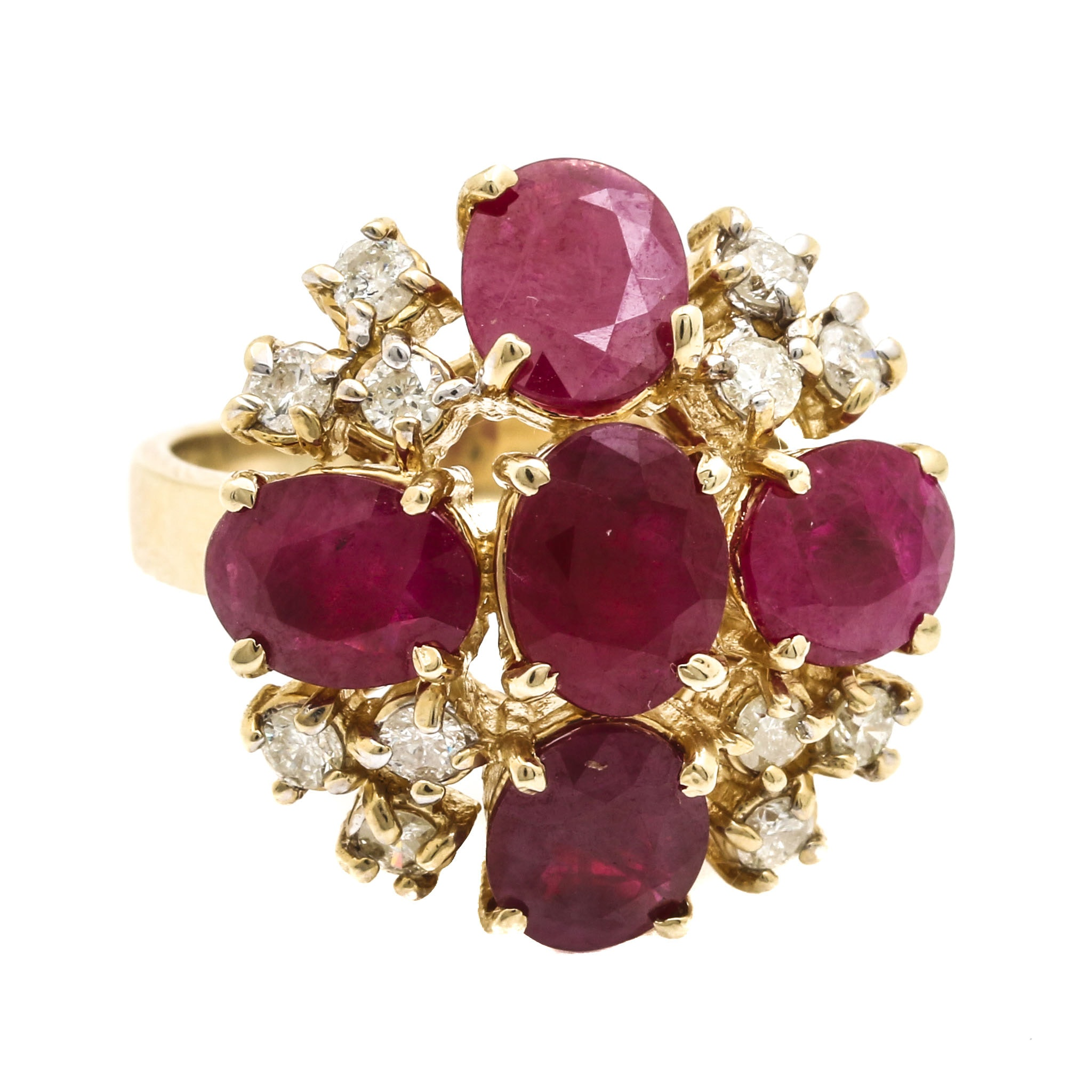 14K Yellow Gold 8.10 CTW Ruby and Diamond Cluster Ring