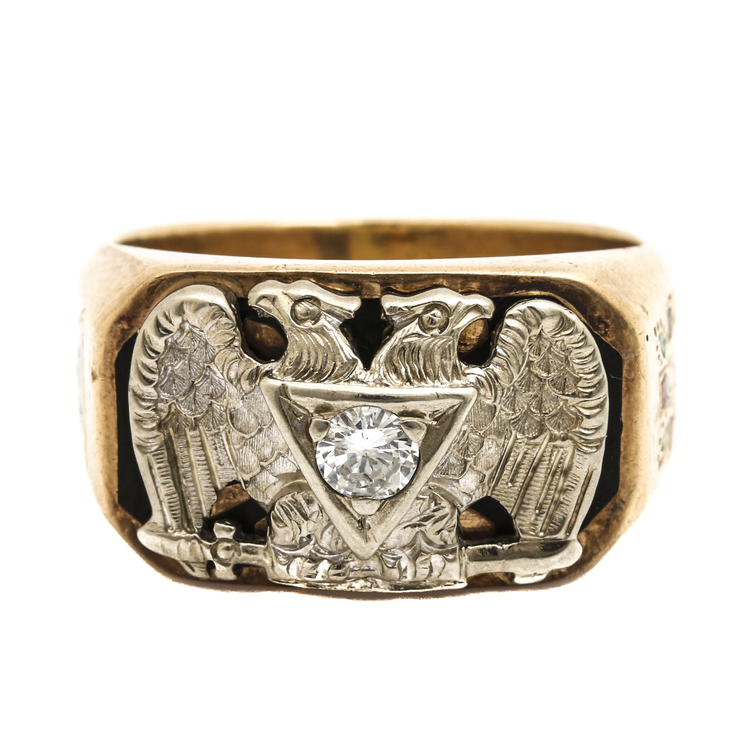 Vintage 32nd Degree Scottish Rite 14K Two-Tone Gold Diamond Freemason Ring