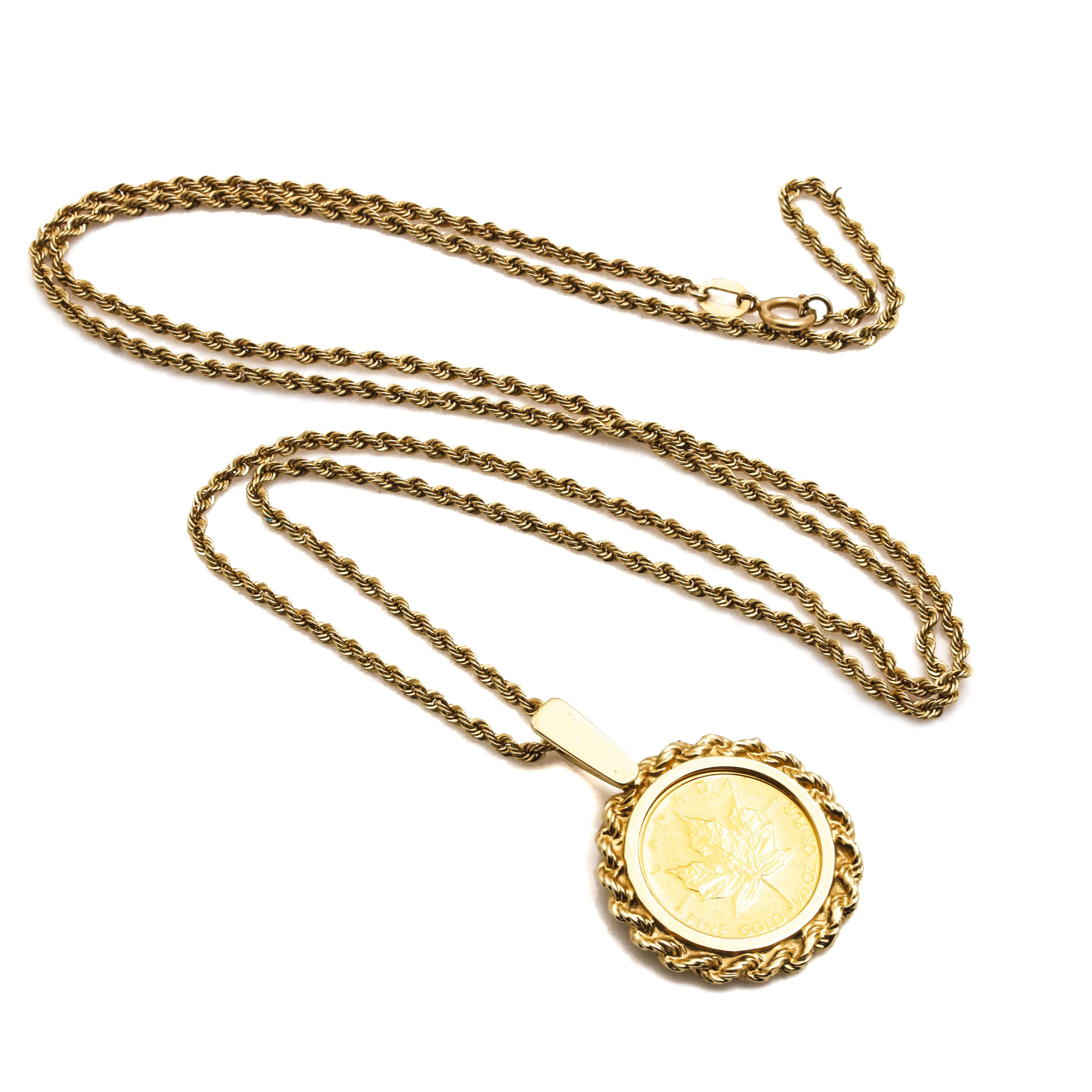 1985 24K Yellow Gold Canadian 5 Dollar Maple Leaf Coin Pendant With 14K Necklace