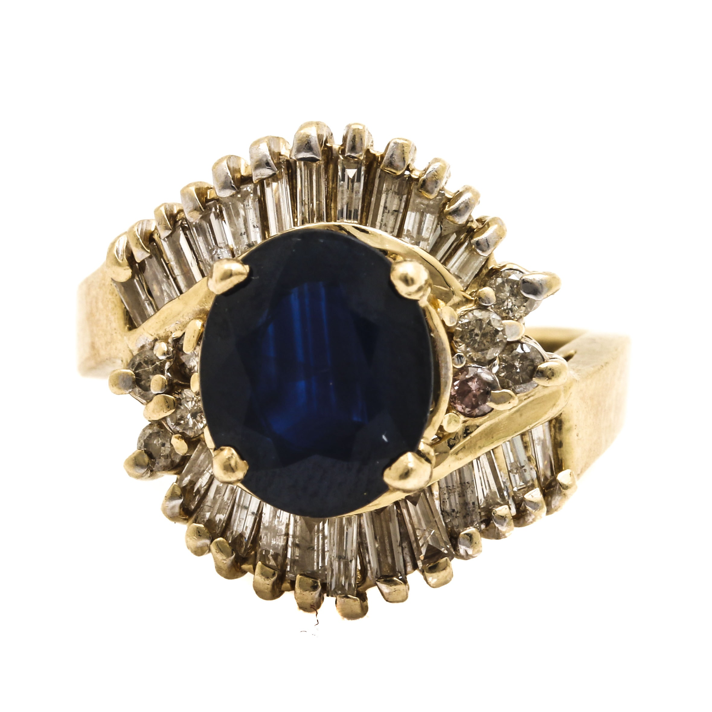 14K Yellow Gold 2.61 CT Sapphire and Diamond Ring