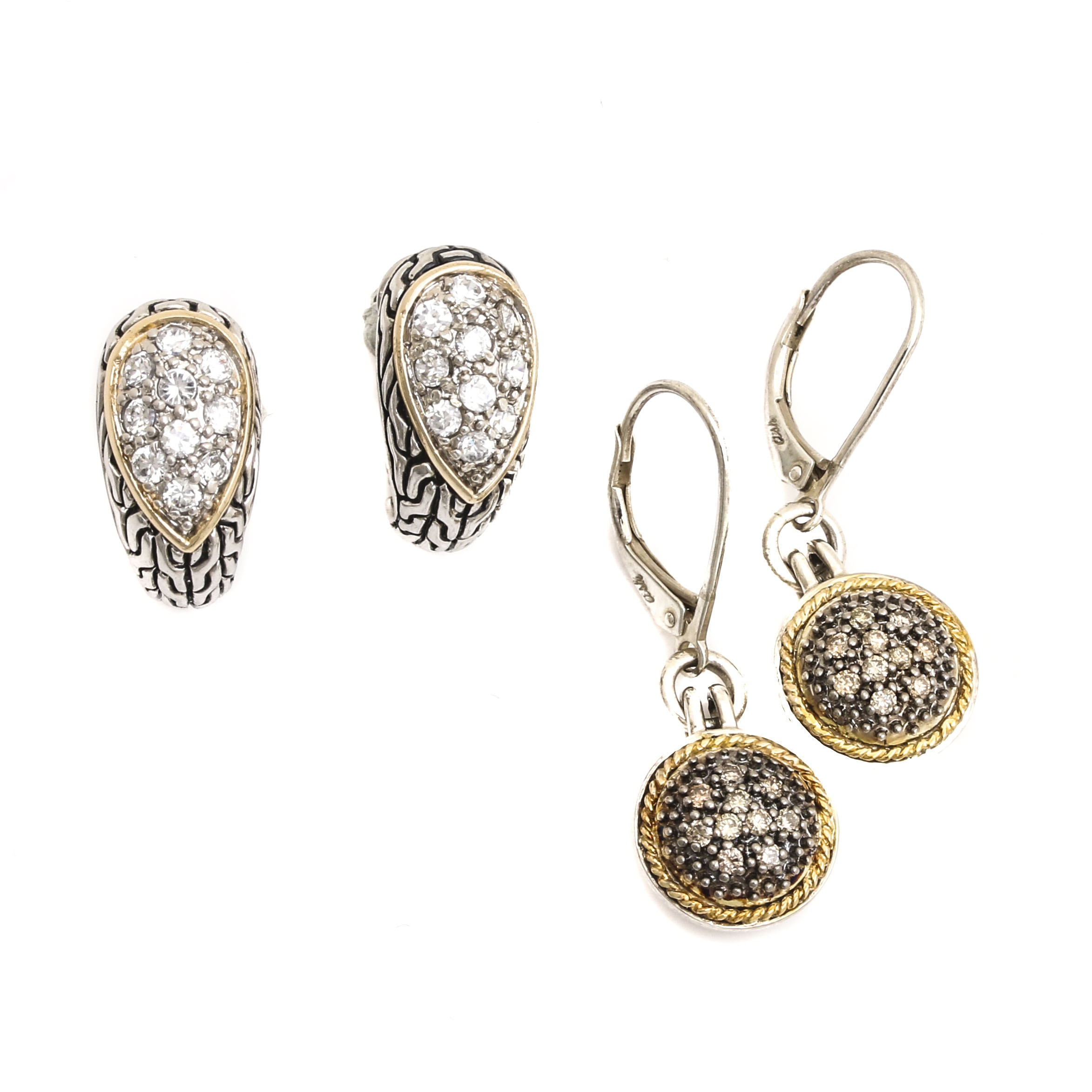 Sterling Silver Earrings Featuring Diamonds