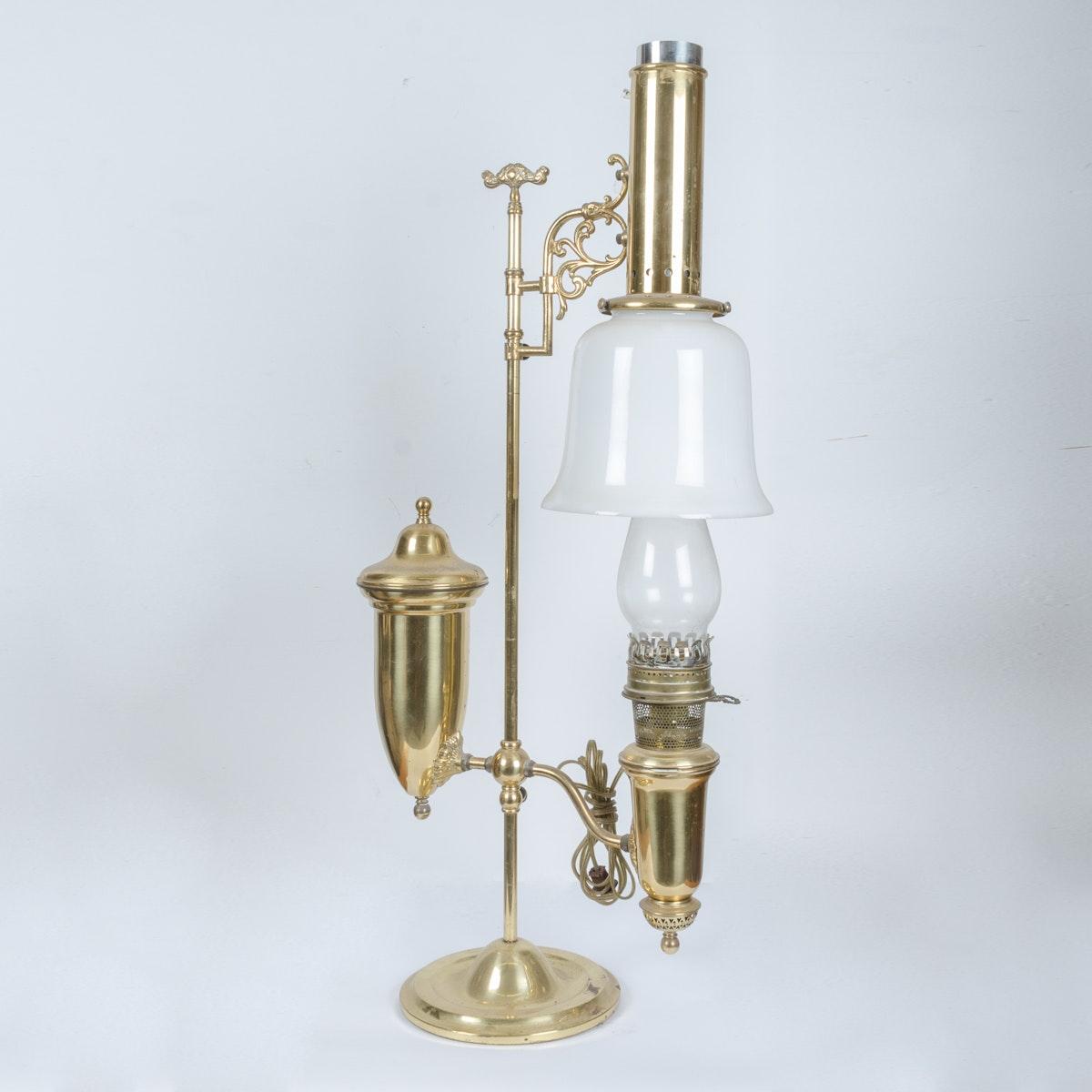 Vintage Converted Manhattan Student Brass Lamp
