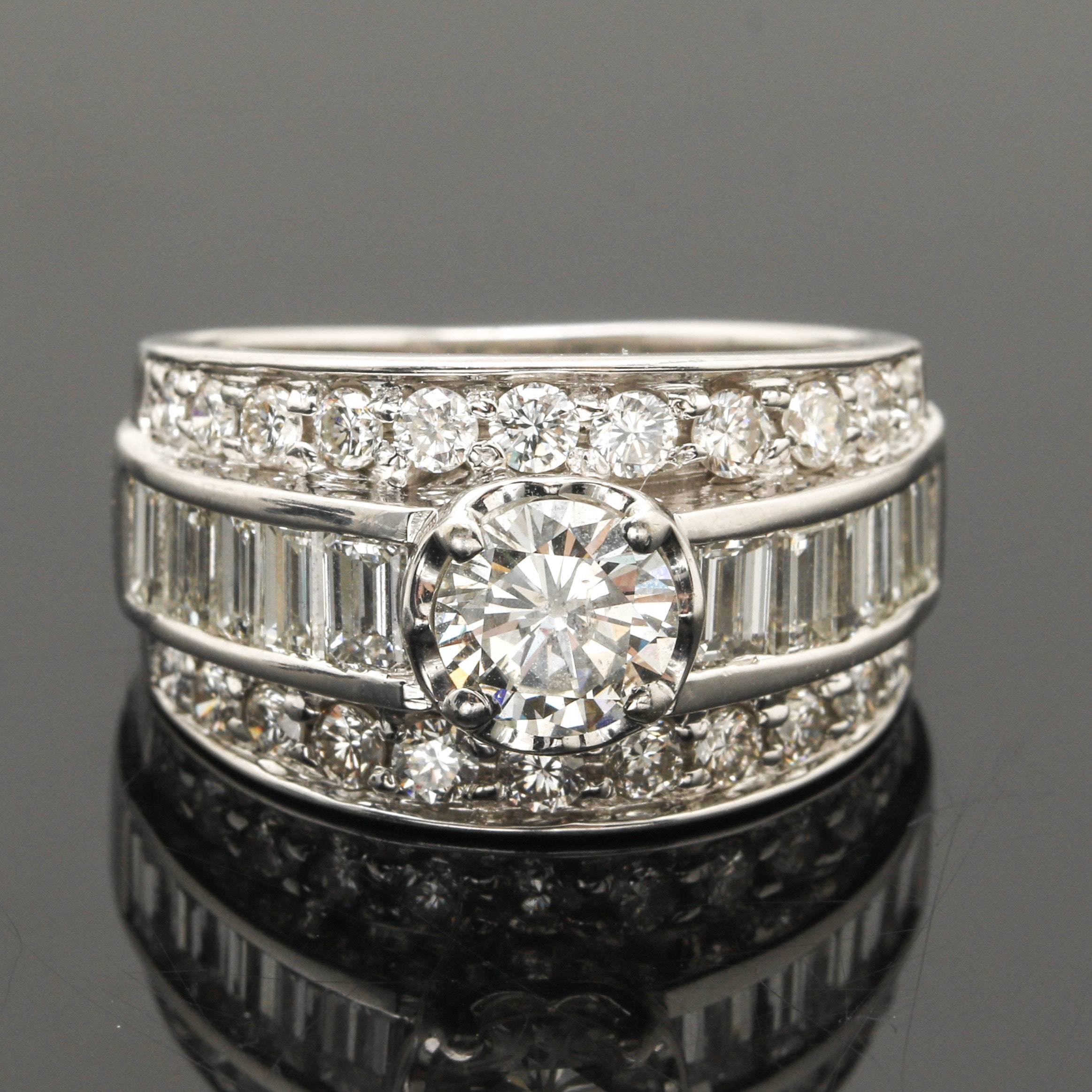 14K White Gold 3.46 CTW Diamond Ring