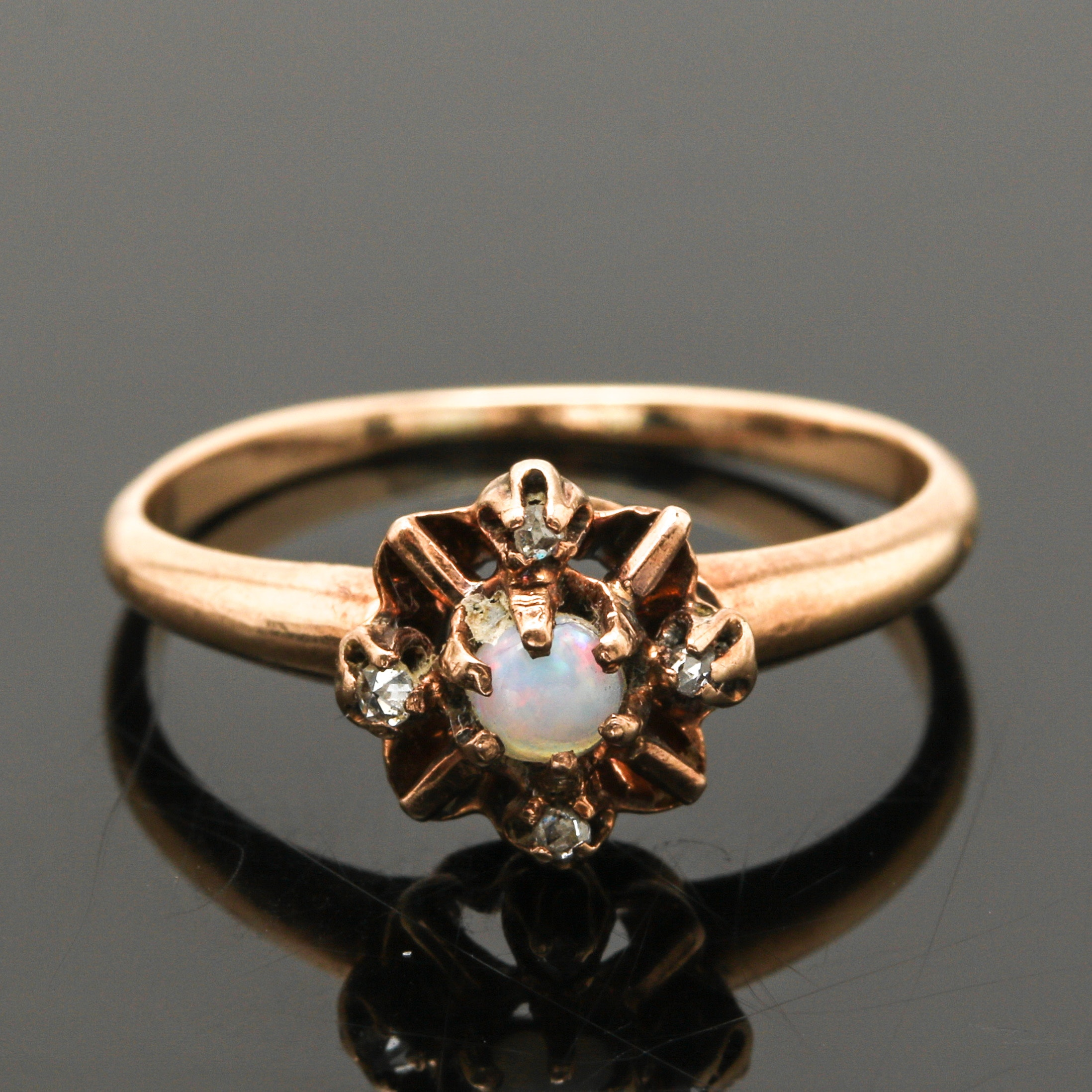 Victorian 10K Yellow Gold Opal and Diamond Ring