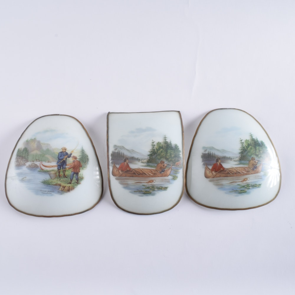 Vintage Currier and Ives Milk Glass Shade Panels