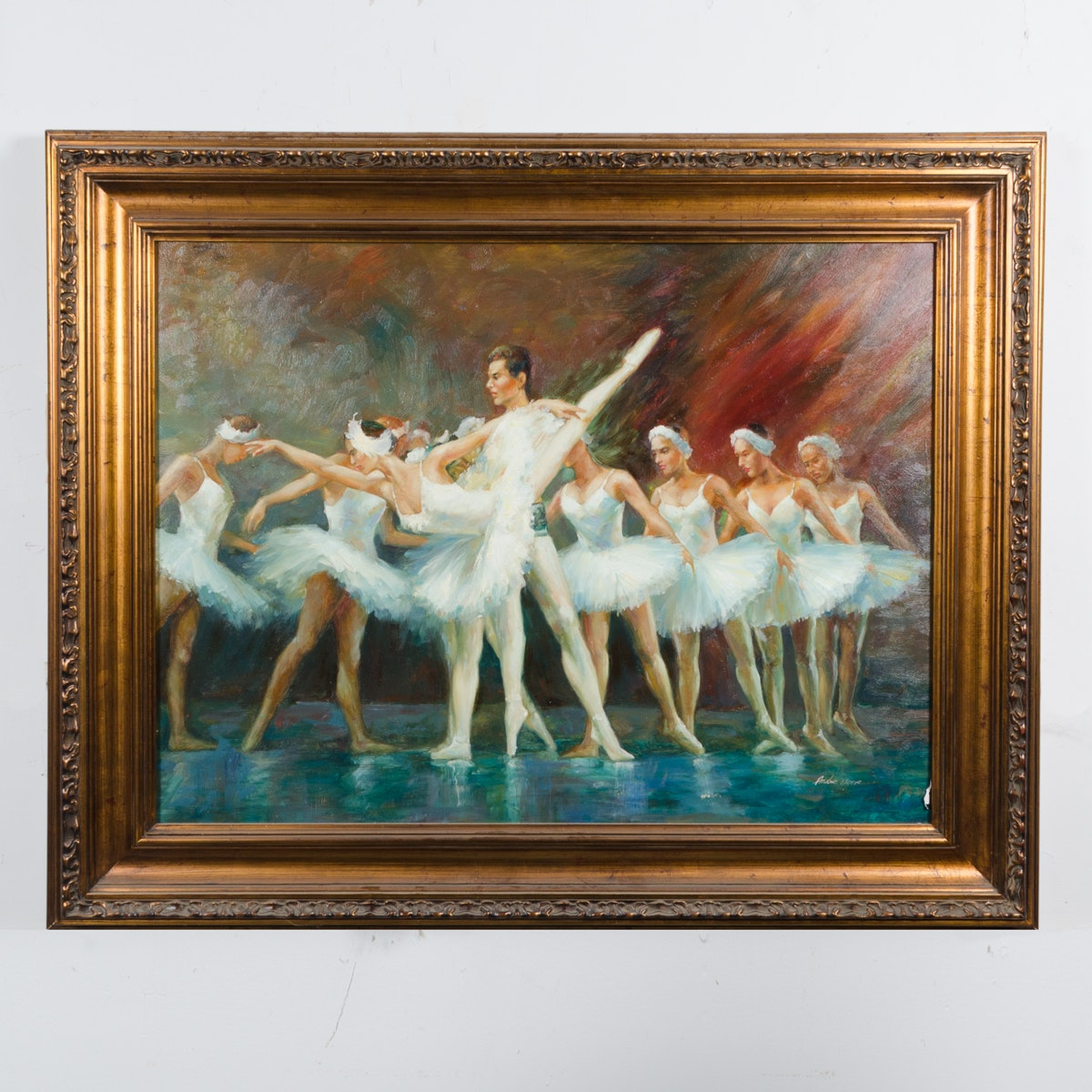 "Andre Moore Oil Painting ""Dancers on Stage"""