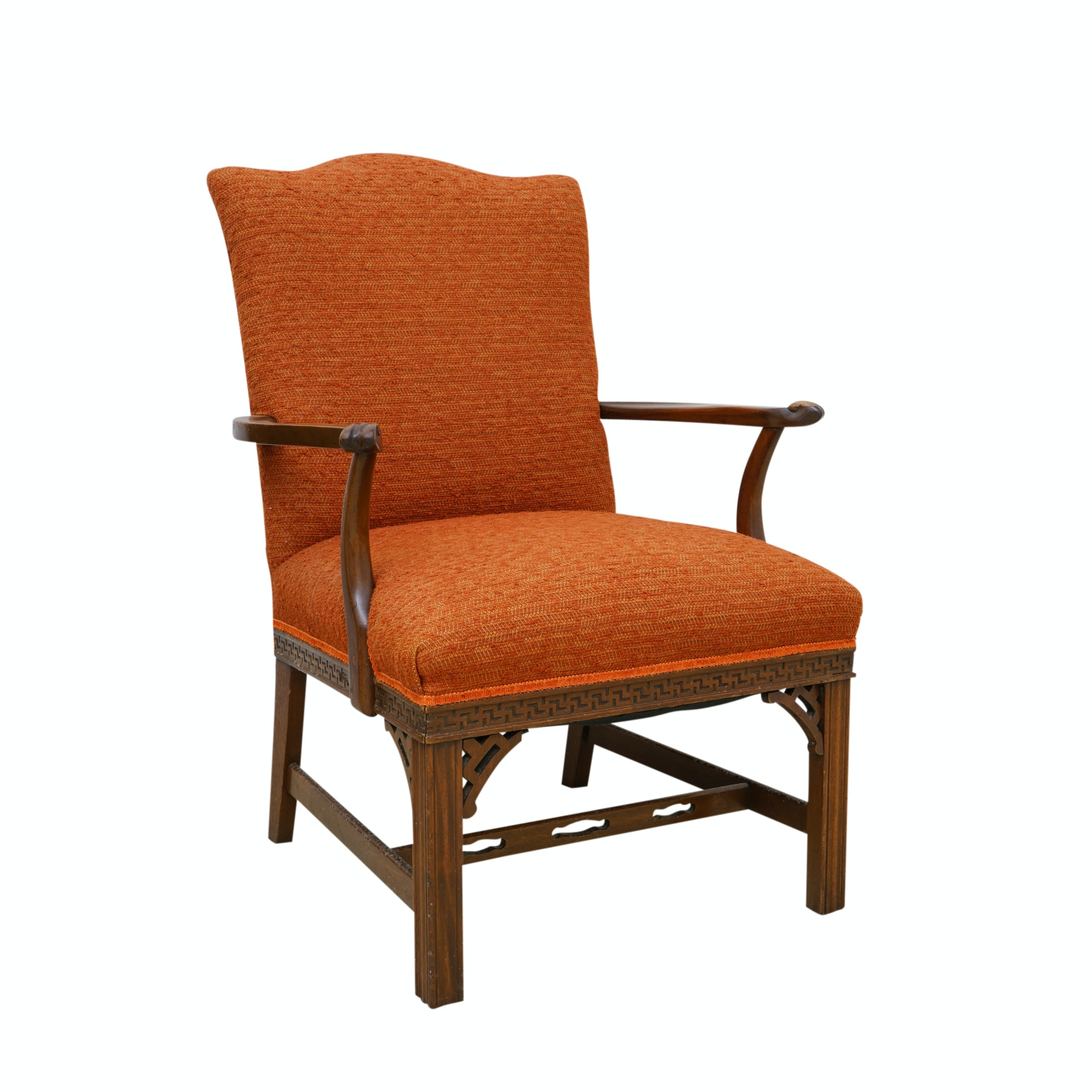 Chinese Chippendale Style Upholstered Armchair