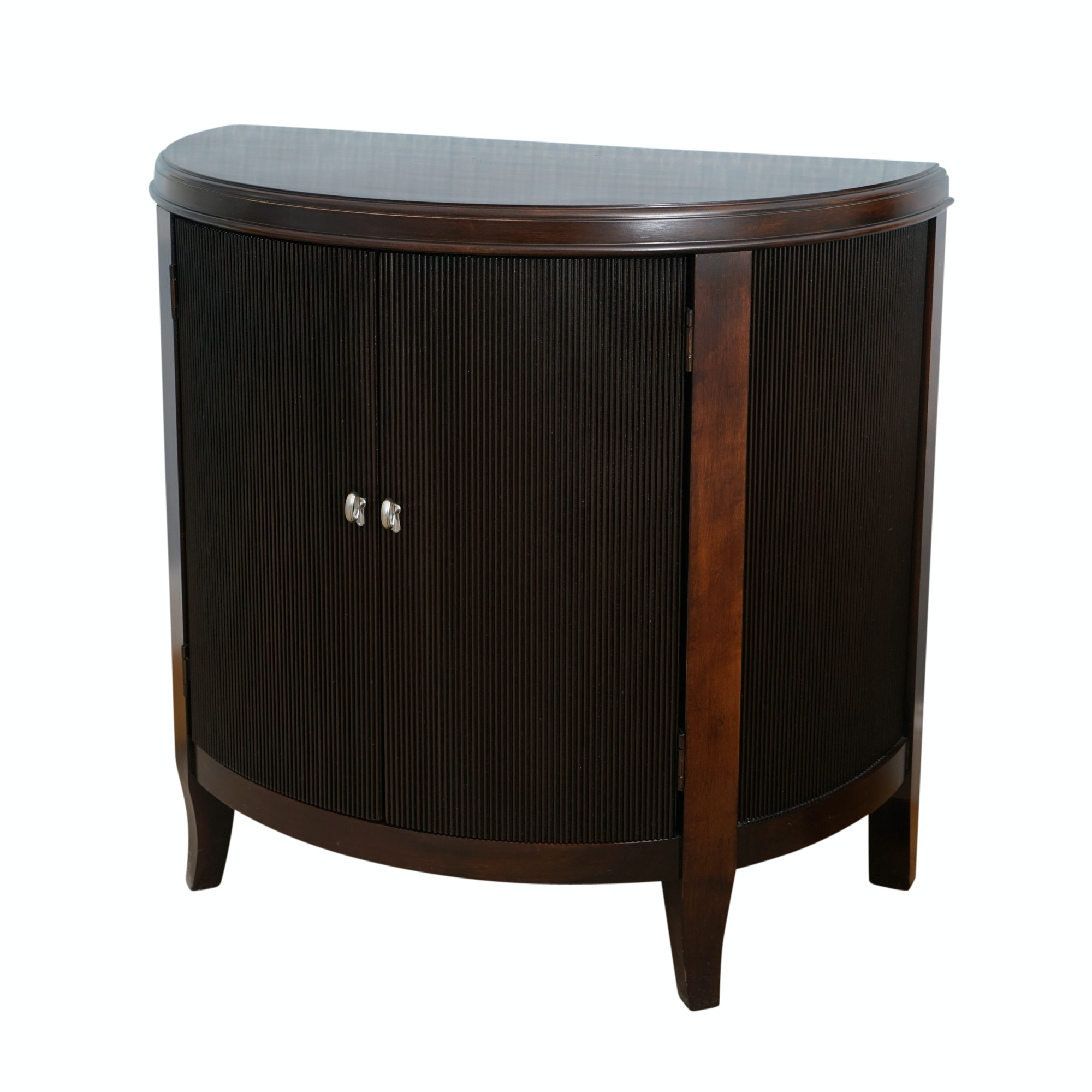 Mahogany Finished Demilune Commode