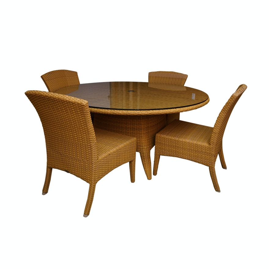 - Wicker Patio Table And Chairs By Gloster : EBTH