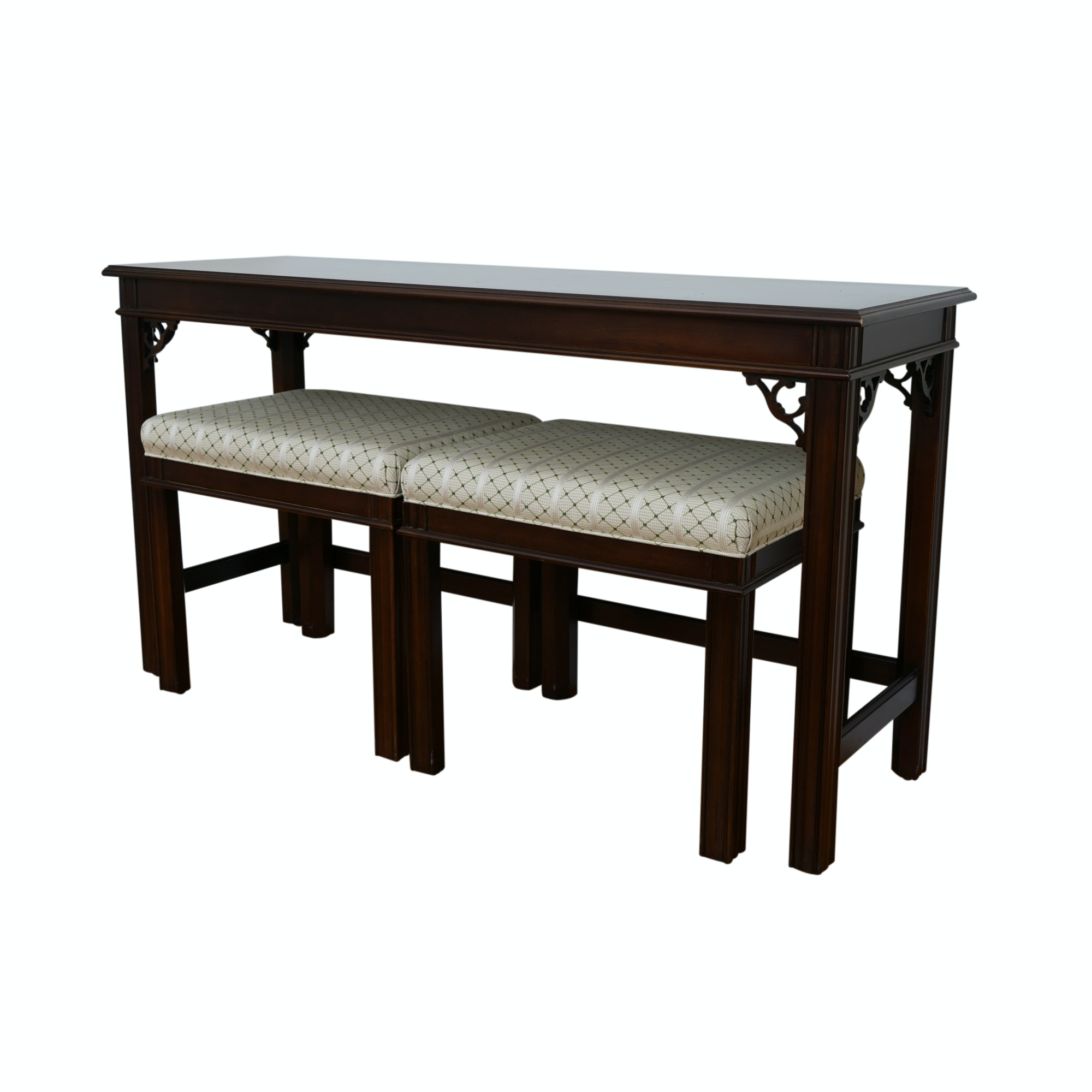 Chippendale Style Console Table and Nesting Stools by Sherrill