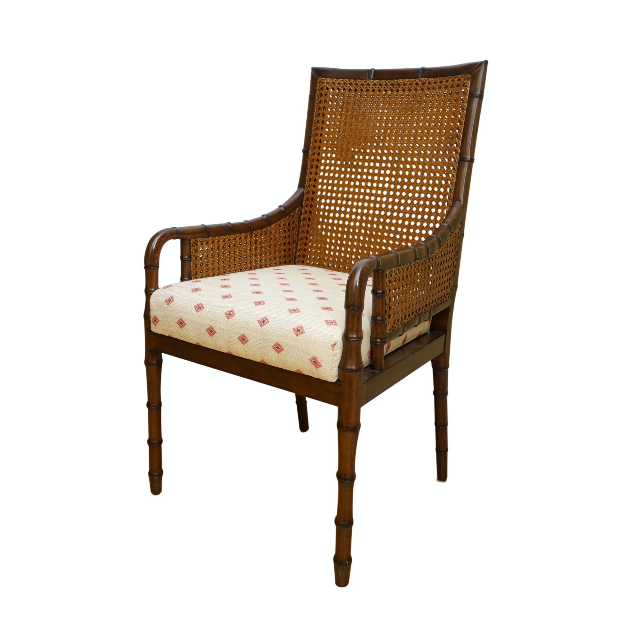 Vintage Caned, Bamboo-Turned Chair by Palecek