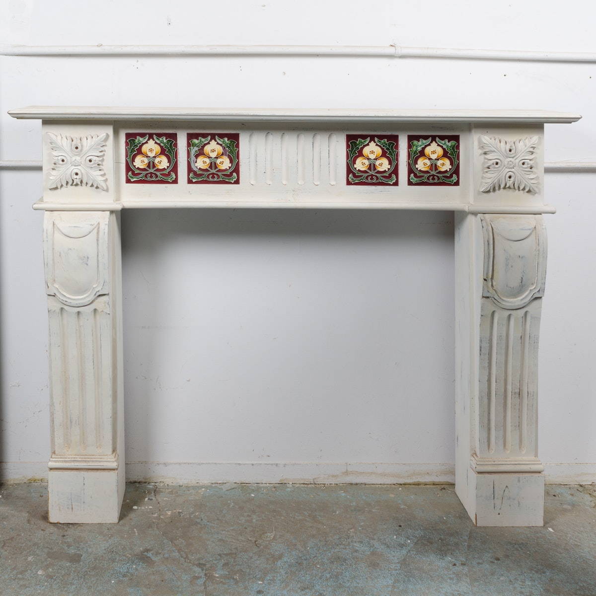 Vintage Wooden Fireplace Mantel with Floral Tiles