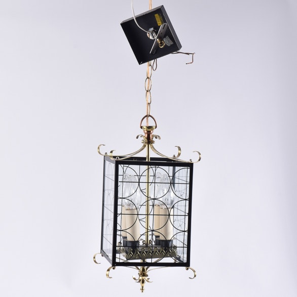 Metal and Glass Lantern Style Pendant Light