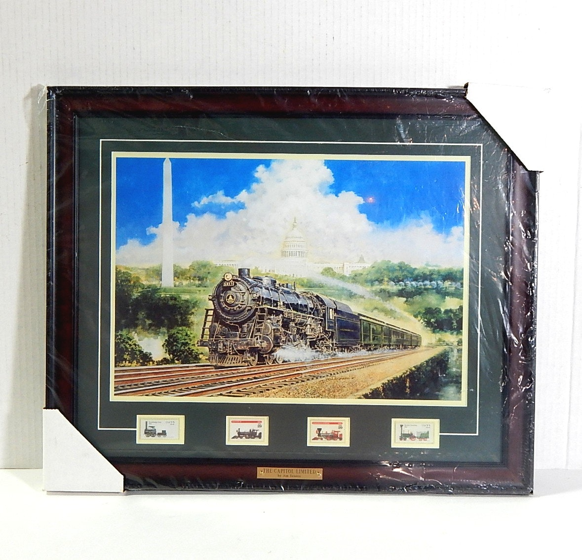 "Framed Railroad Stamps and Print ""The Capitol Limited"" by Jim Deneen"