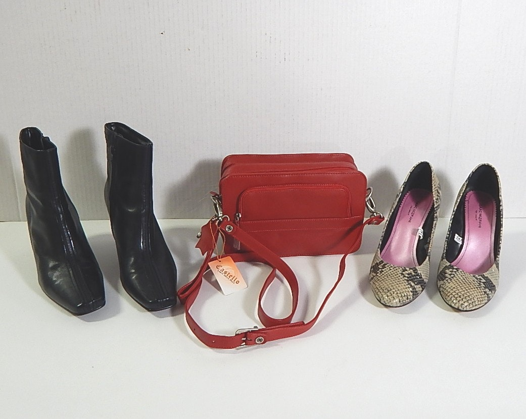 Leather Shoes and Castello Red Leather Handbag