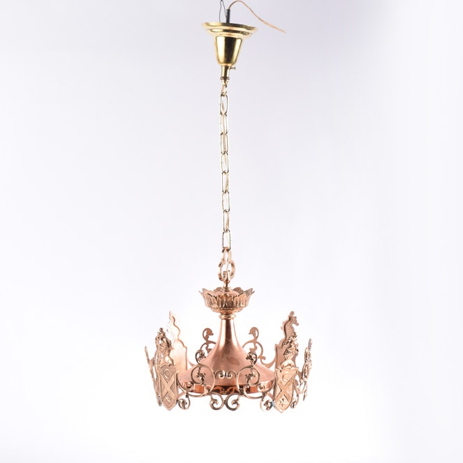 Copper Tone Metal Pendant Light With Heraldic Theme