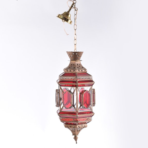 Moroccan Style Metal and Glass Hanging Light