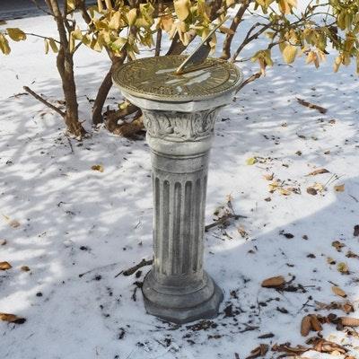 Brass Sundial And Concrete Garden Pedestal ...