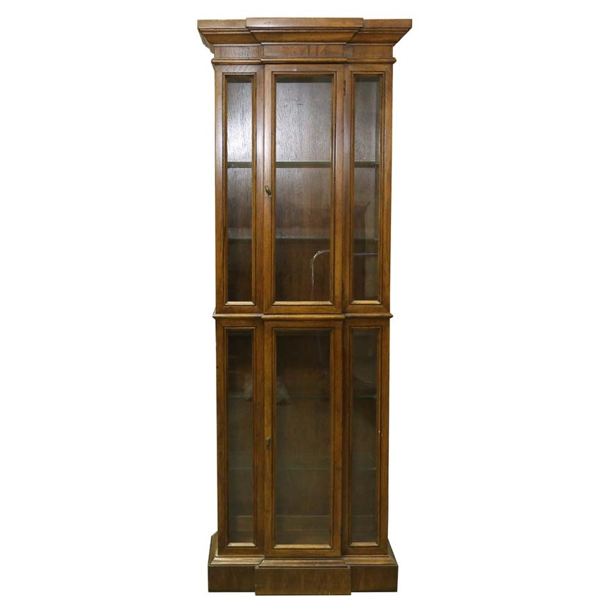 Federal Style Vintage Lighted Maple Curio Cabinet