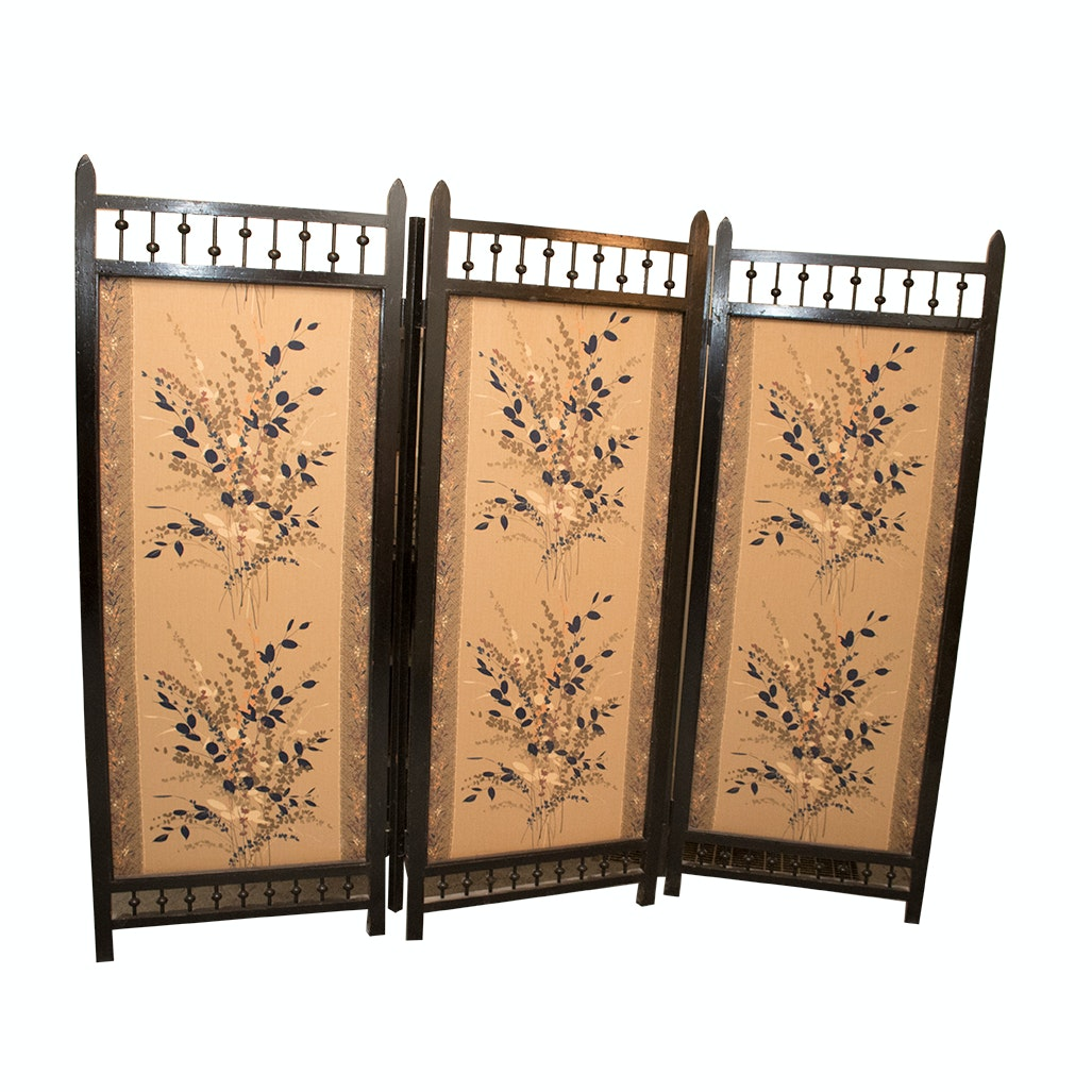 Vintage Wood and Fabric Room Divider