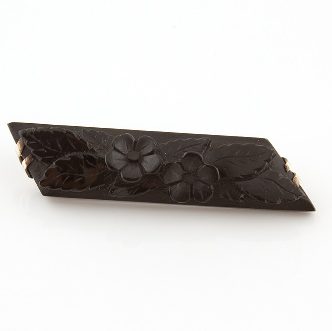 Hand-Carved Jet Mourning Brooch, Circa Mid 1800s