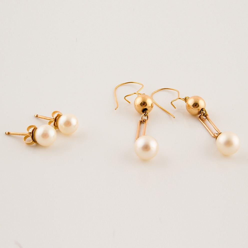 14K and 9K Yellow Gold and Cultured Pearl Earrings