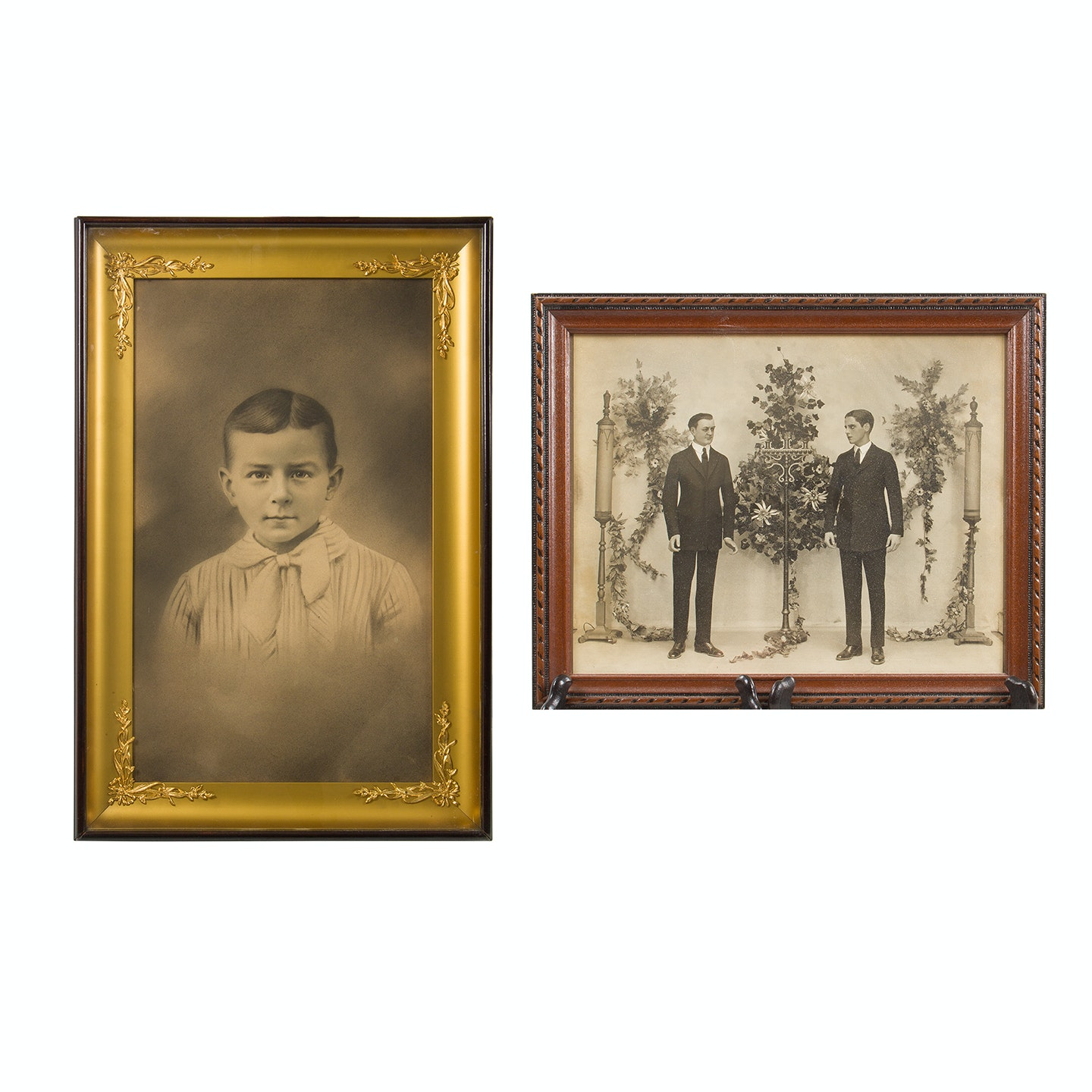 Antique Tintype Framed Photo and Offset Lithograph