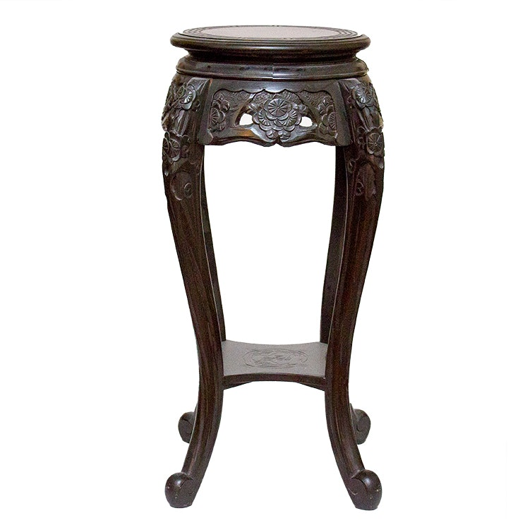 Chinese Wood Pedestal with Hand-Painted Dragon Design