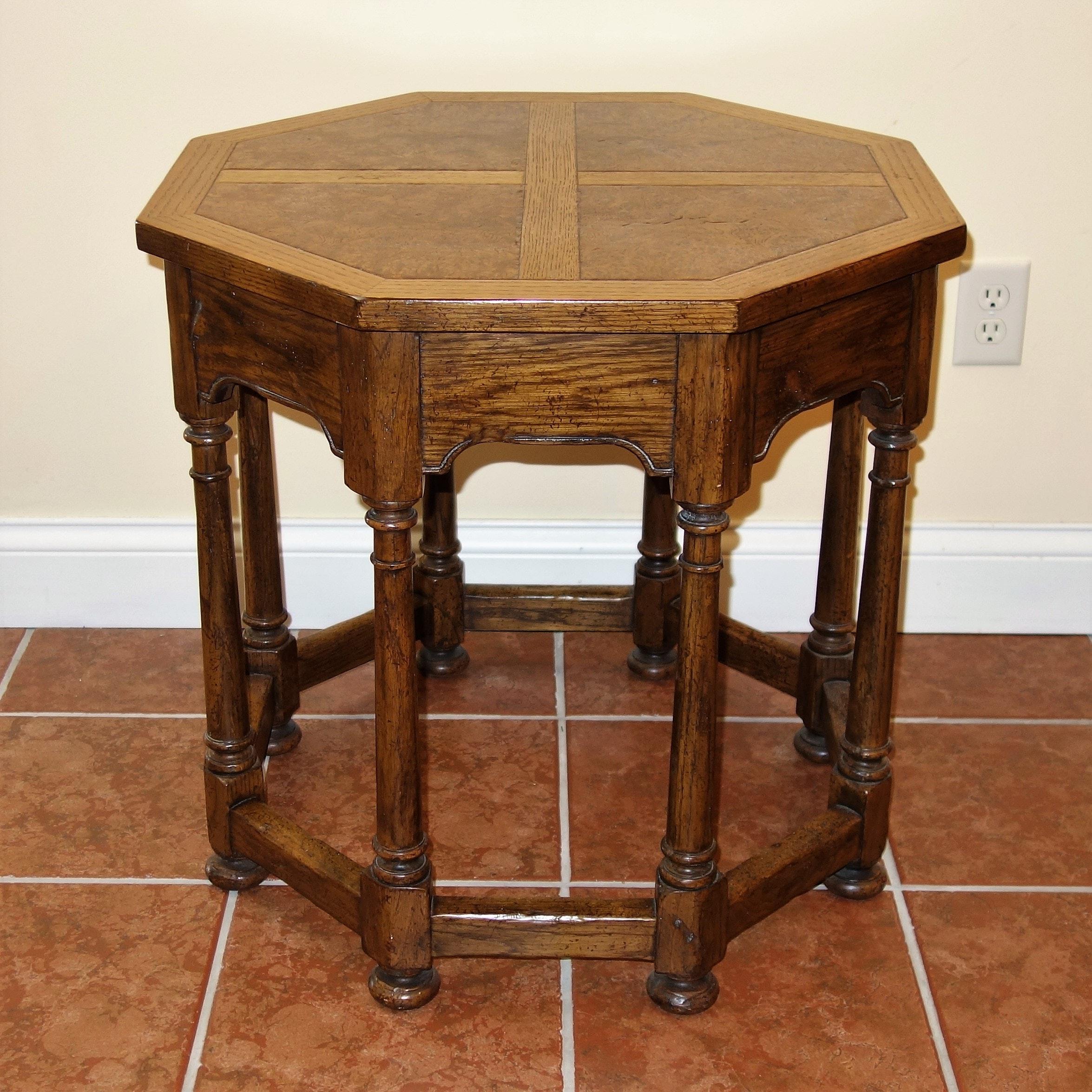 Burl Octogon Side Table by Baker Furniture