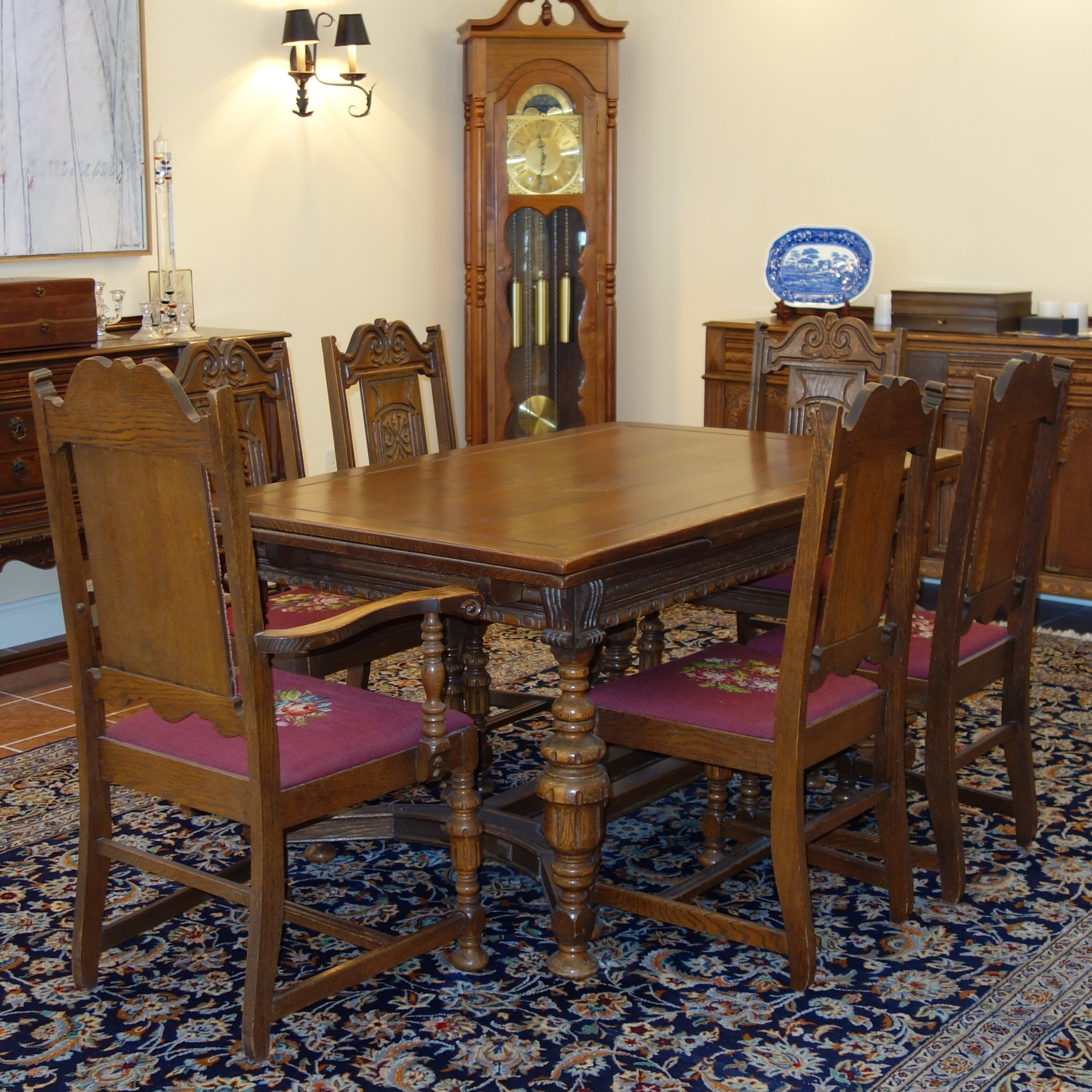 English Renaissance Revival Oak Table and Six Chairs