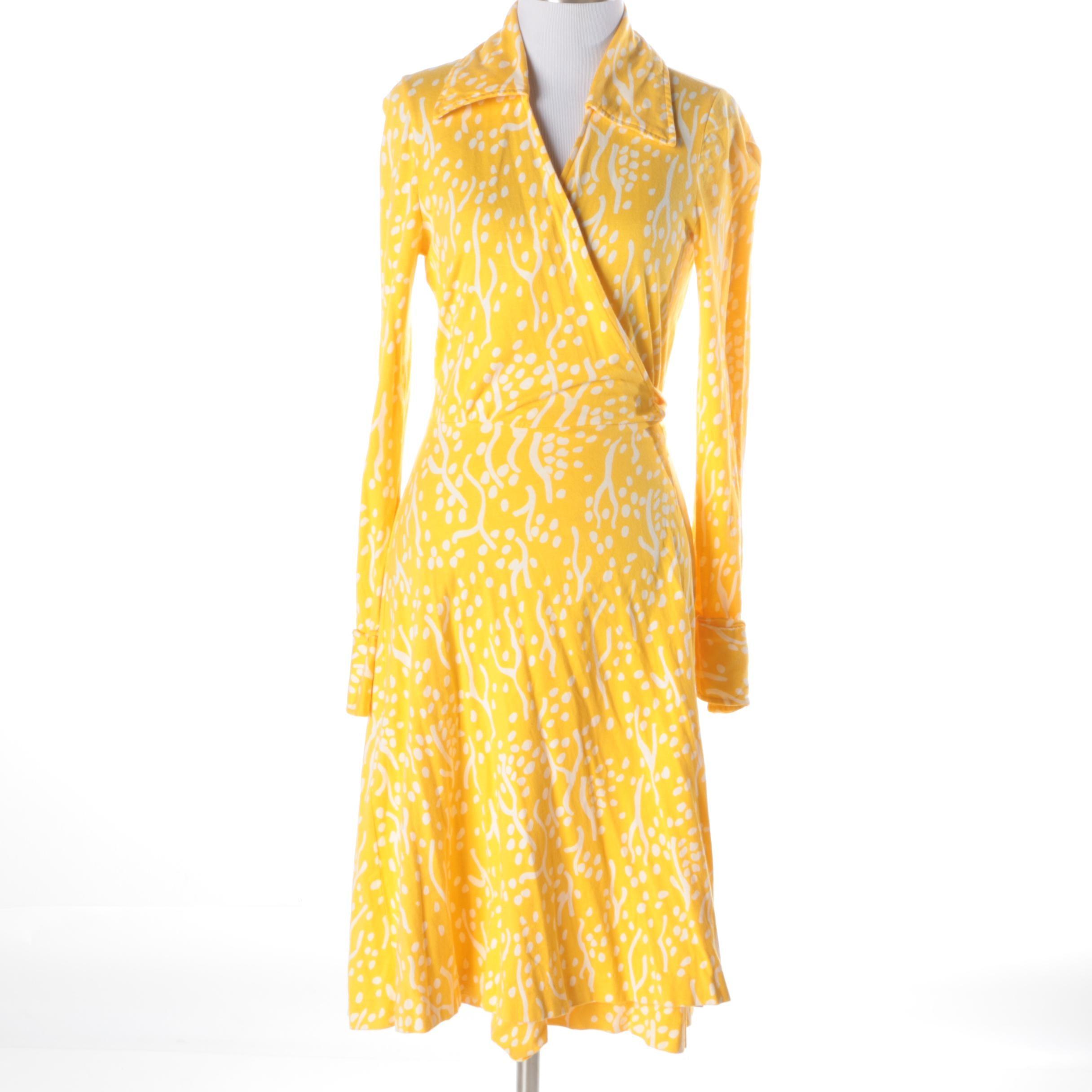 Late 1970s Vintage Diane von Furstenberg Yellow Wrap Dress