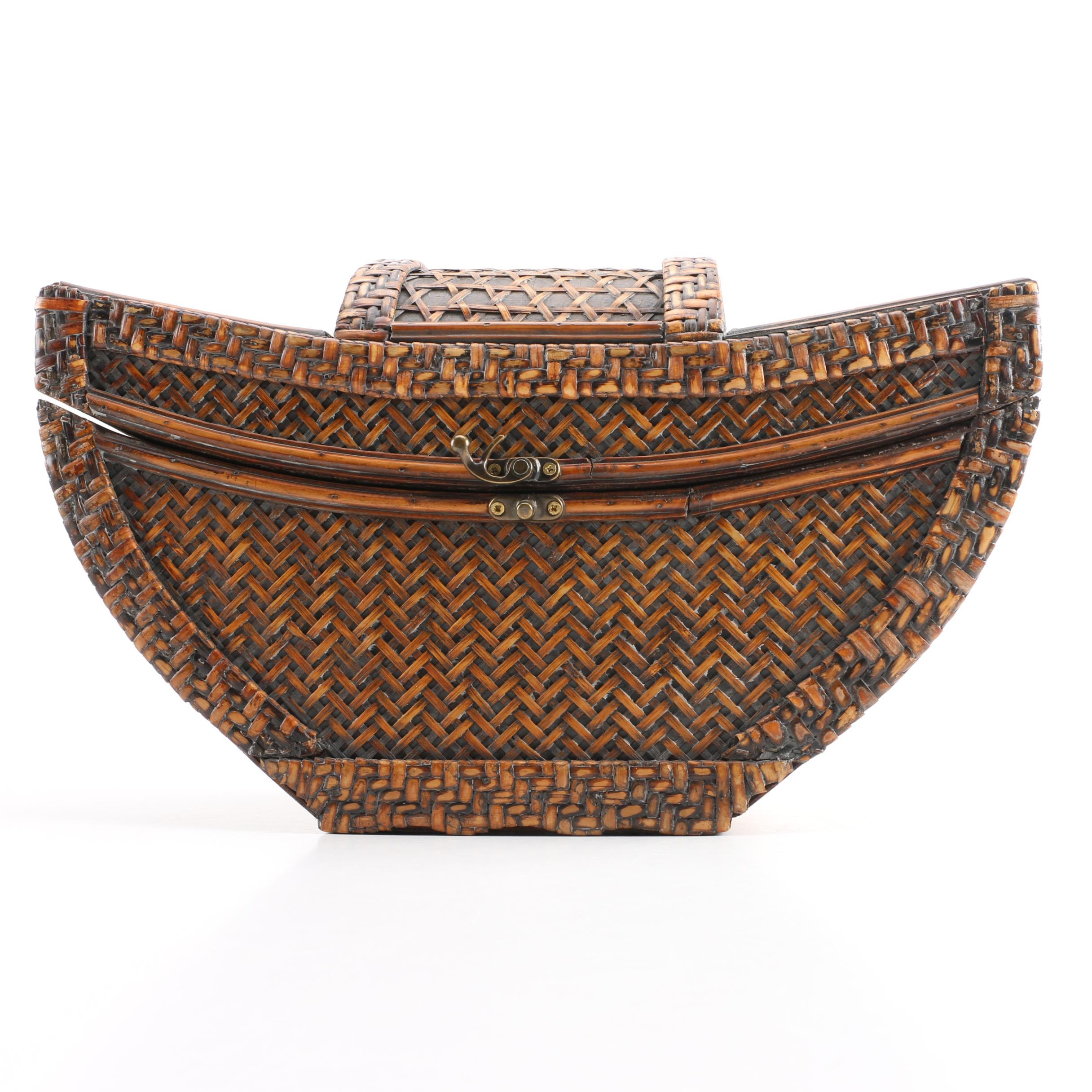 Chinese Made Lidded Woven Basket