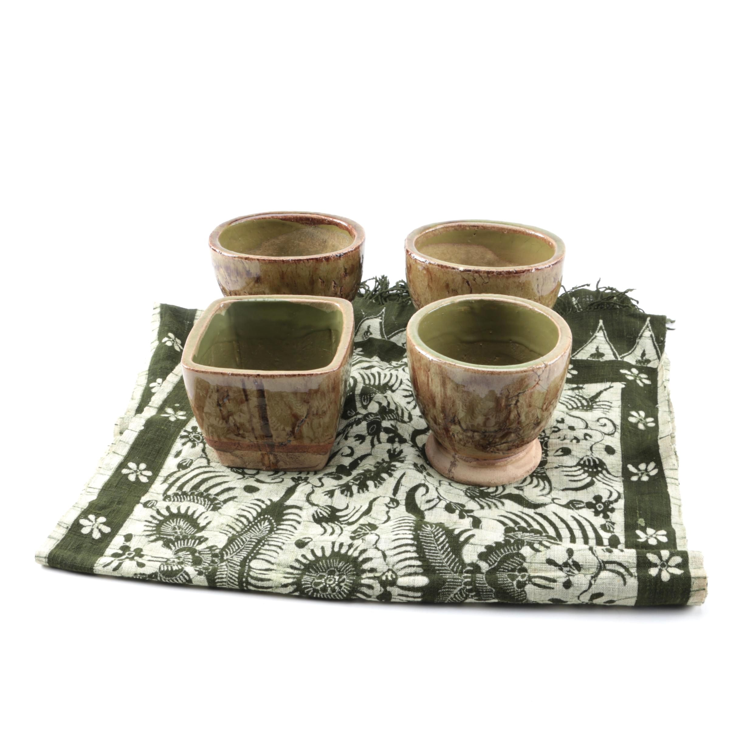 Table Runner and Decorative Ceramic Vessels