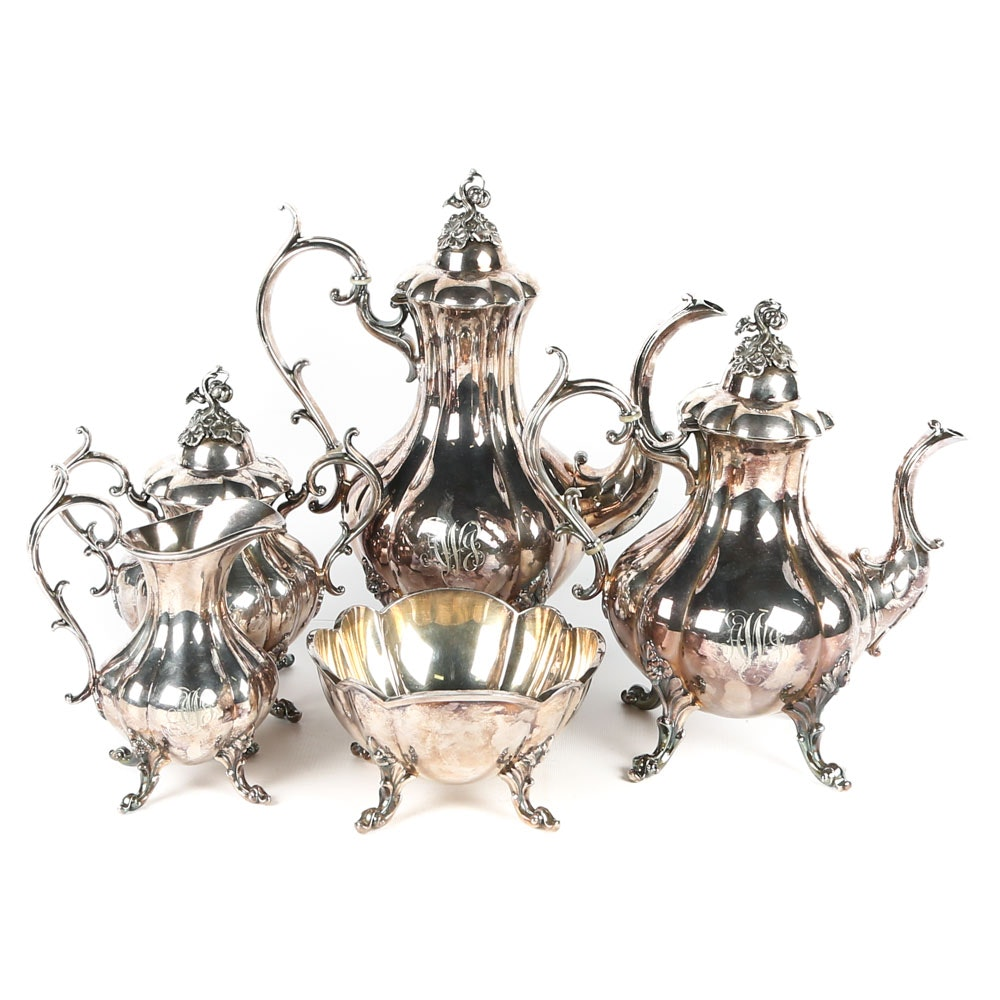 """Reed & Barton """"Winthrop"""" Plated Silver Tea and Coffee Service"""