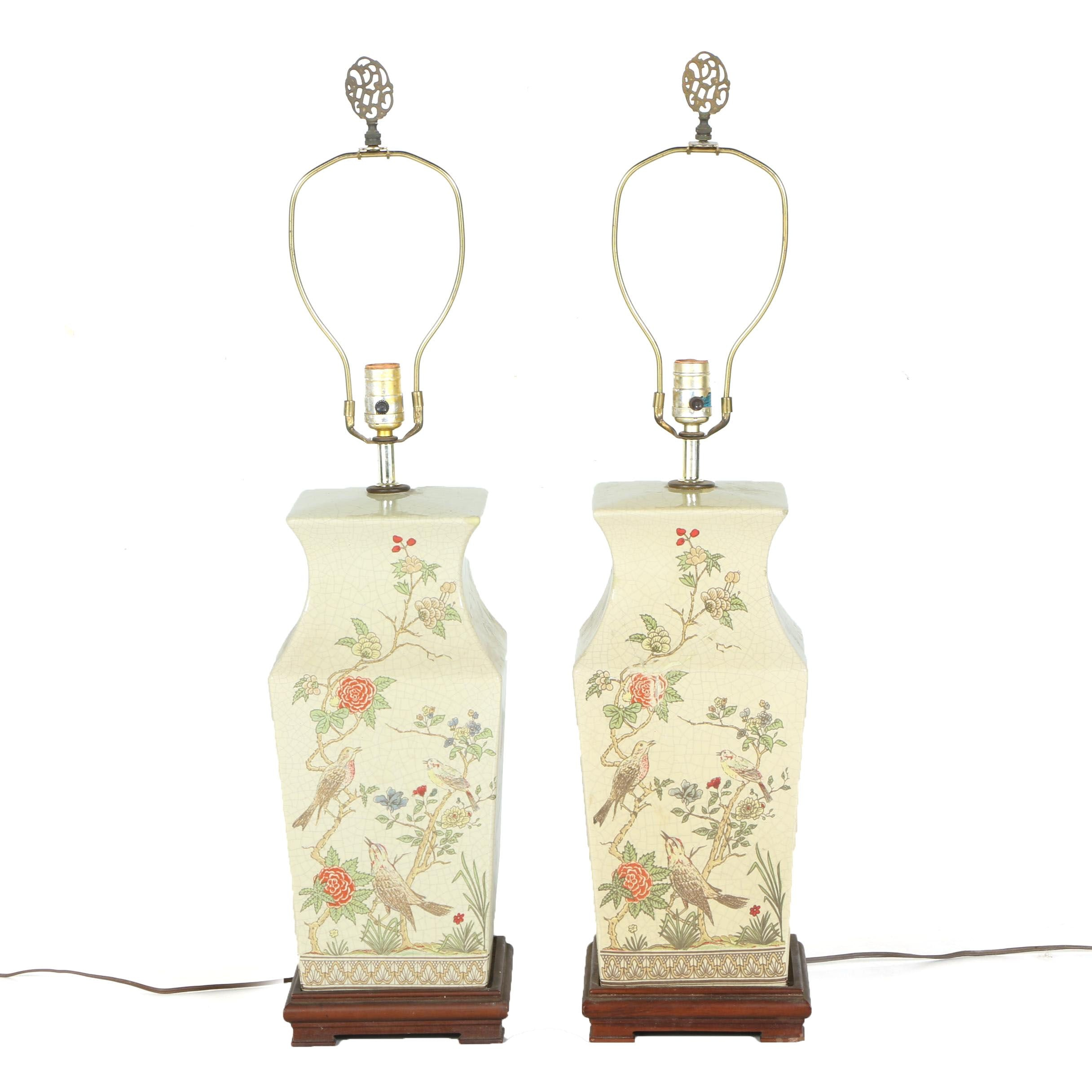 Pair of Chinoiserie Ceramic Table Lamps