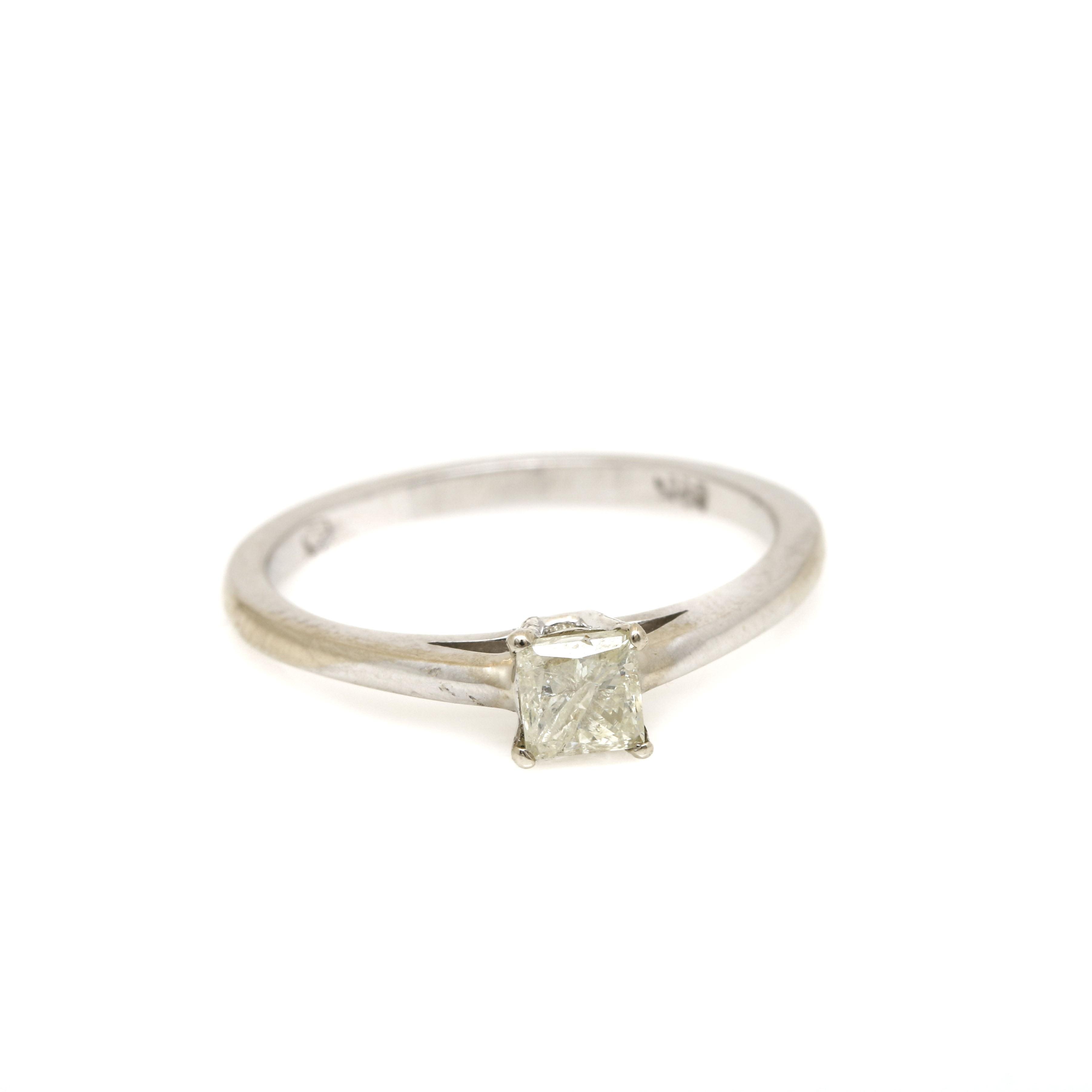 14K White Gold Diamond Solitaire Ring