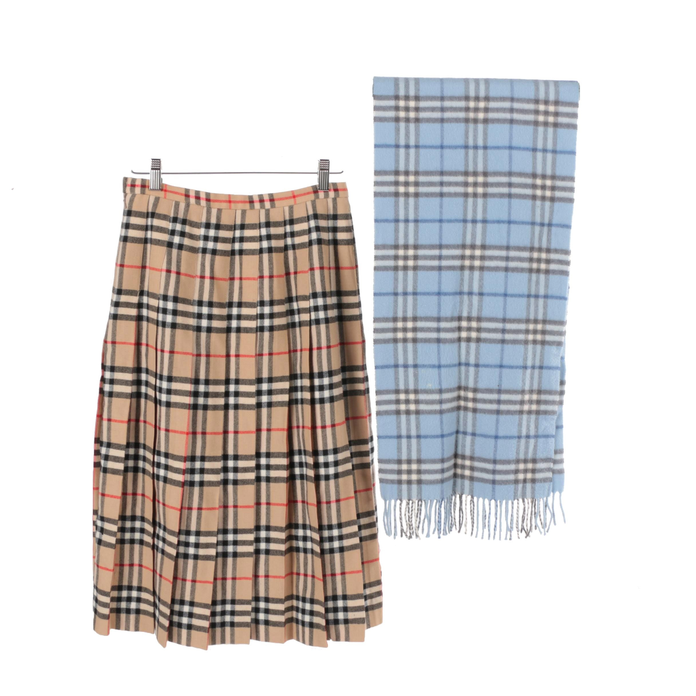 Burberry Cashmere Scarf and Plaid Skirt