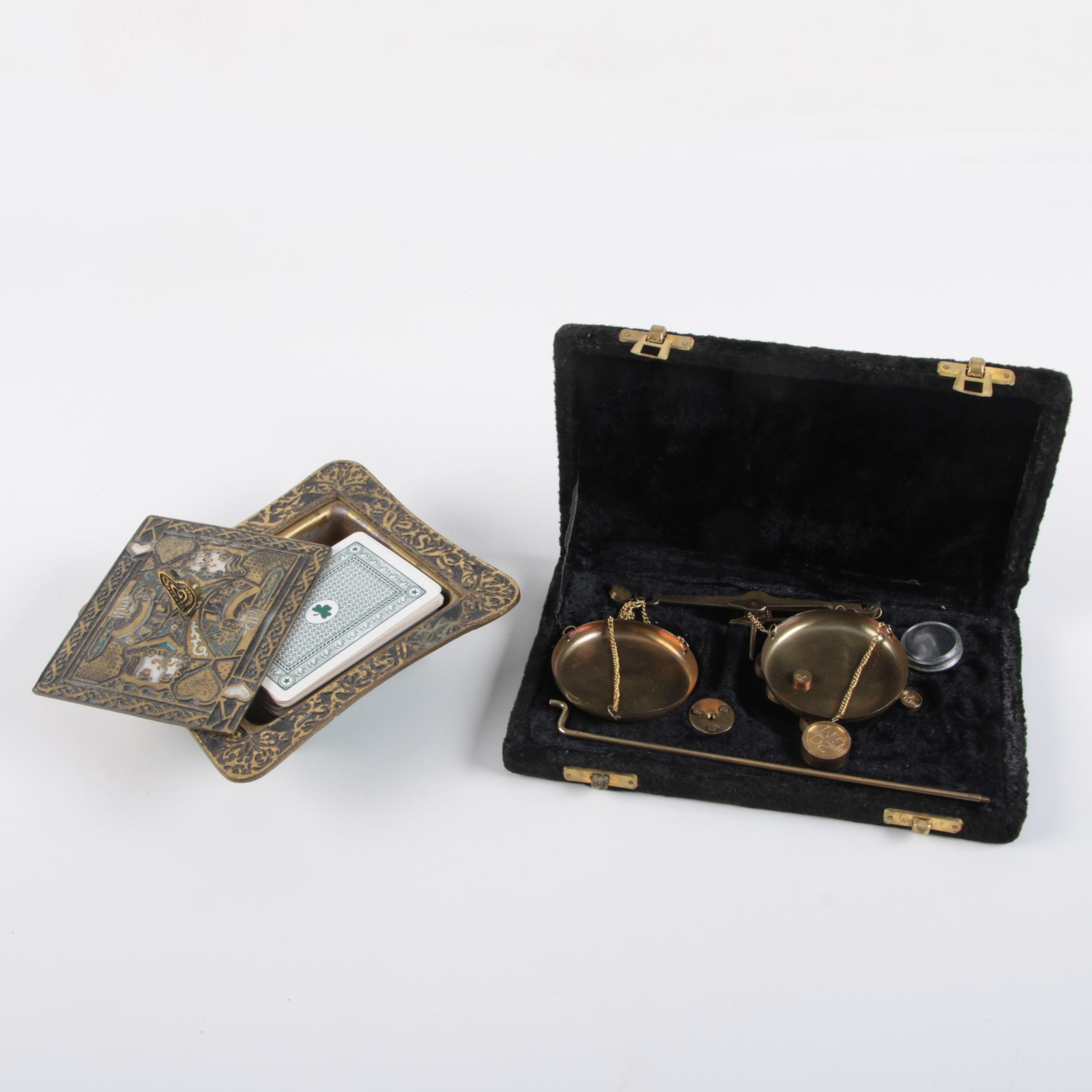 Metal Box of Playing Cards with Brass Scale in Box