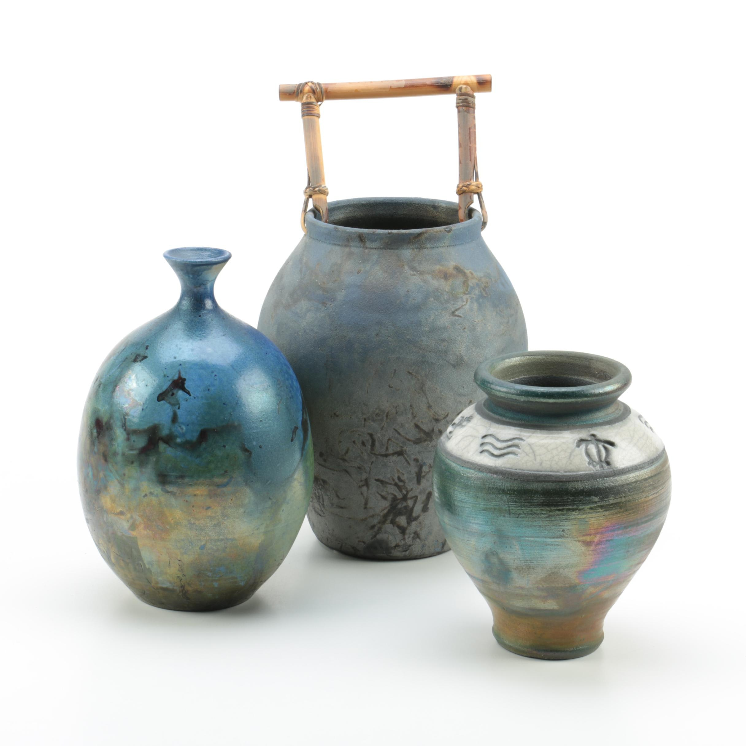 Hand Thrown and Signed Stoneware Raku Vases
