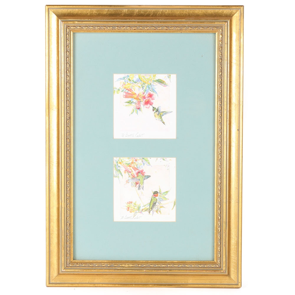 Mary Booth Cabot Signed Hummingbird Offset Lithograph Diptych