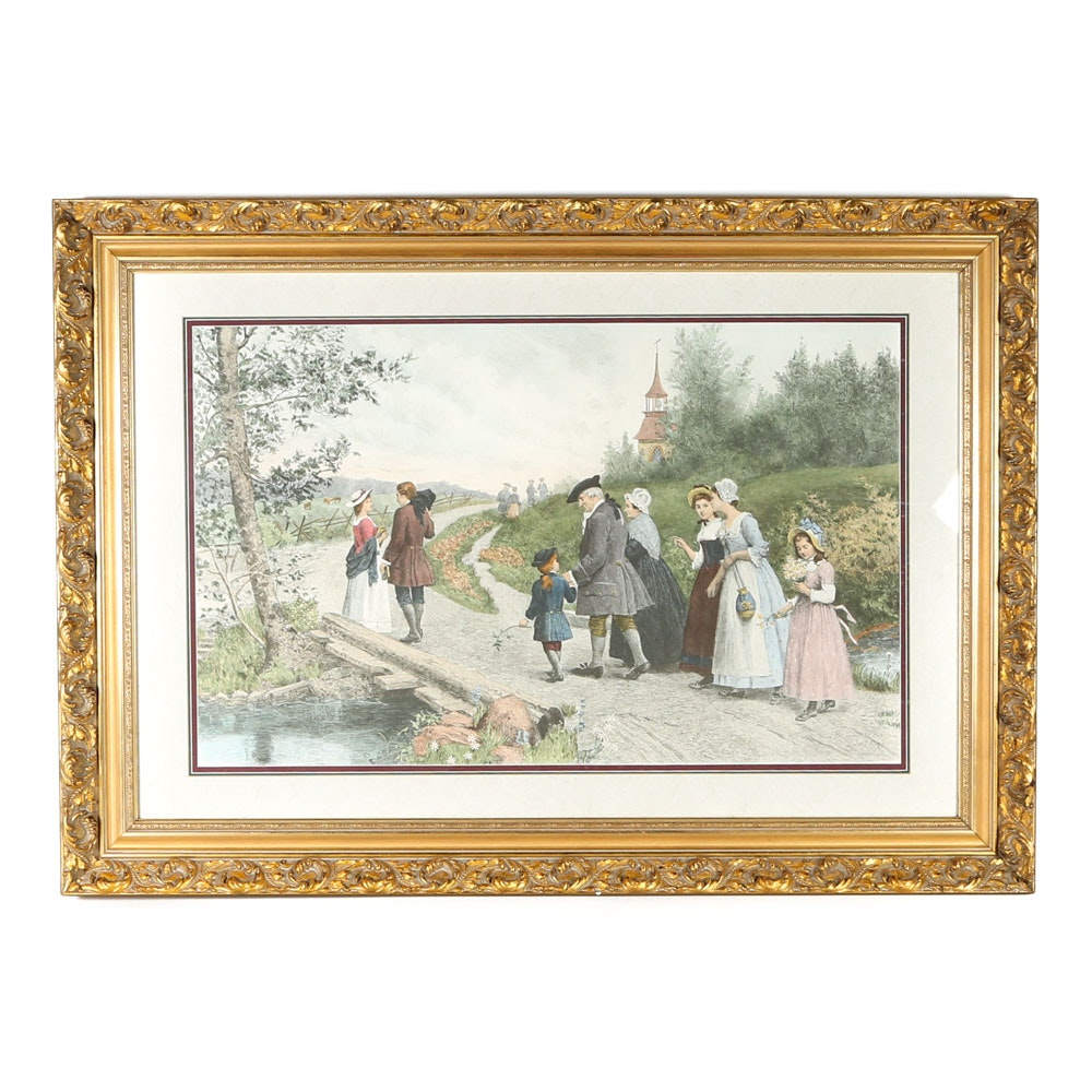 """Jennie Brownscombe Reproduction Print """"Sunday Morning in Sleepy Hollow"""""""