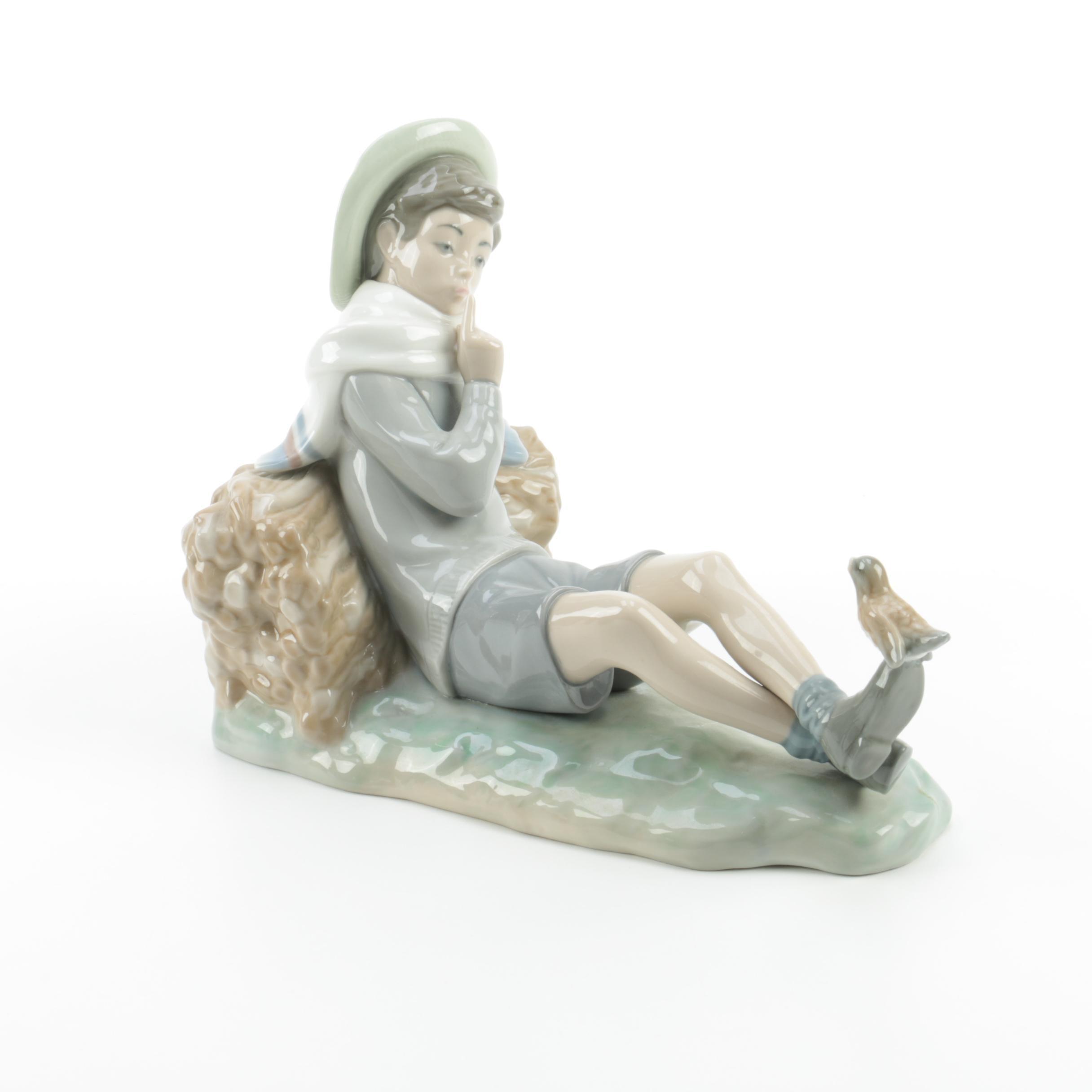 "Lladro ""Shepherd Boy with Bird"" Figurine"