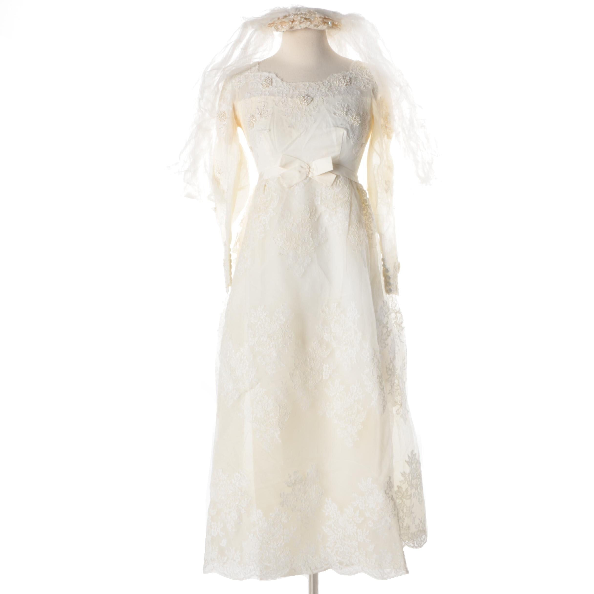 1960s Vintage Alfred Angelo Edythe Vincent Designed Wedding Dress