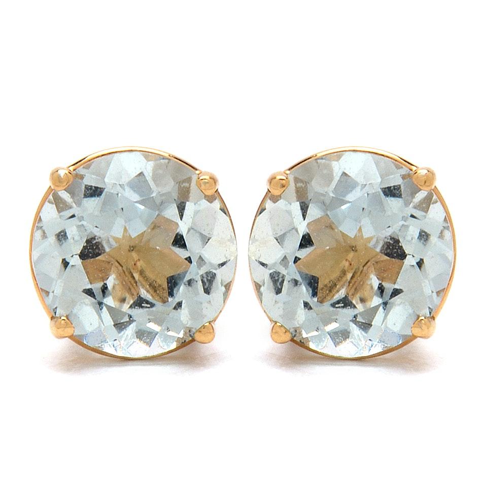 14K Yellow Gold Aquamarine Stud Earrings