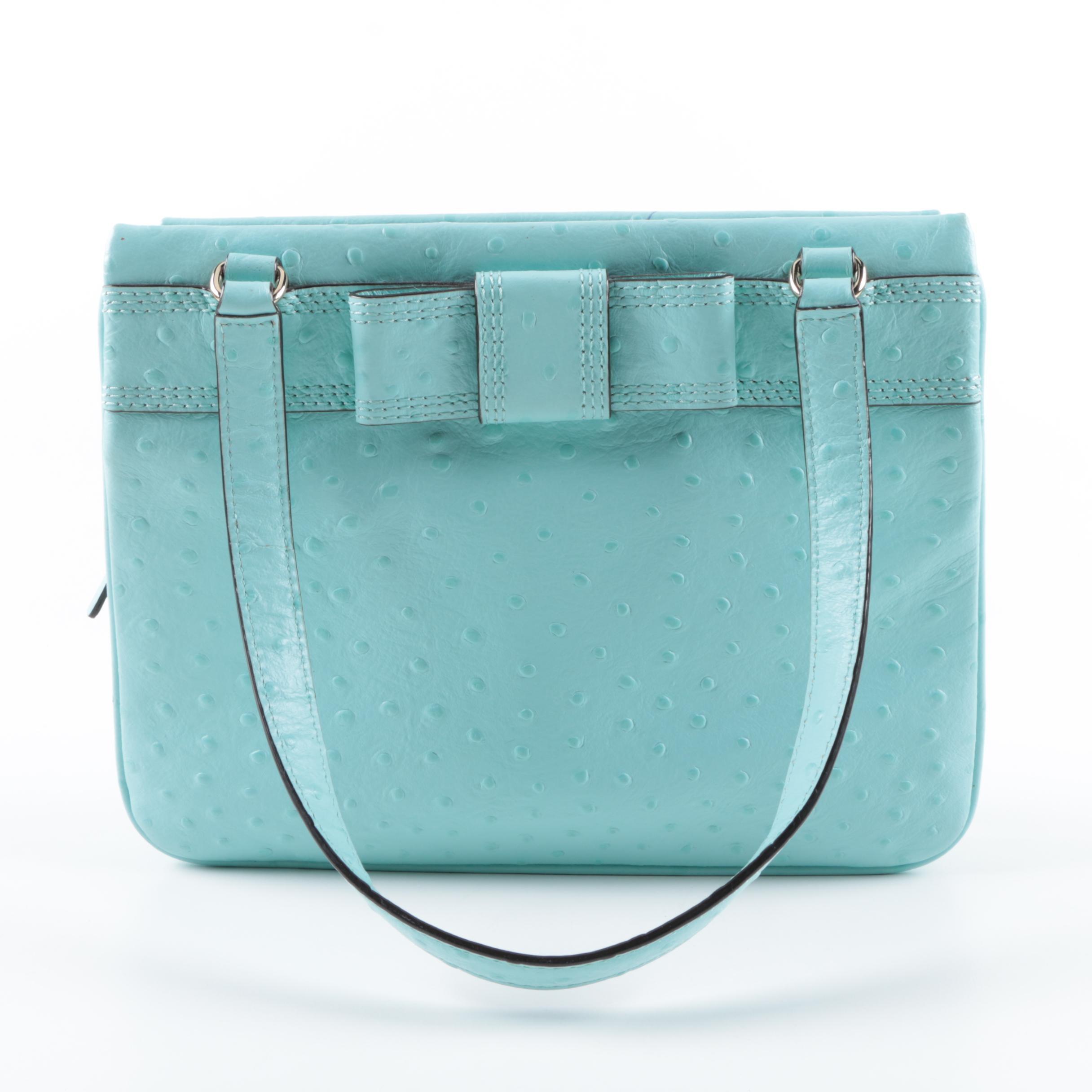 Kate Spade Turquoise Embossed Leather Handbag