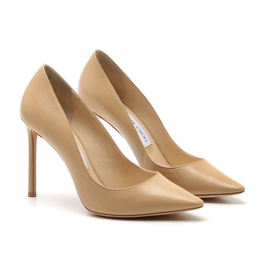 Jimmy Choo Anouk Beige Leather Stilettos